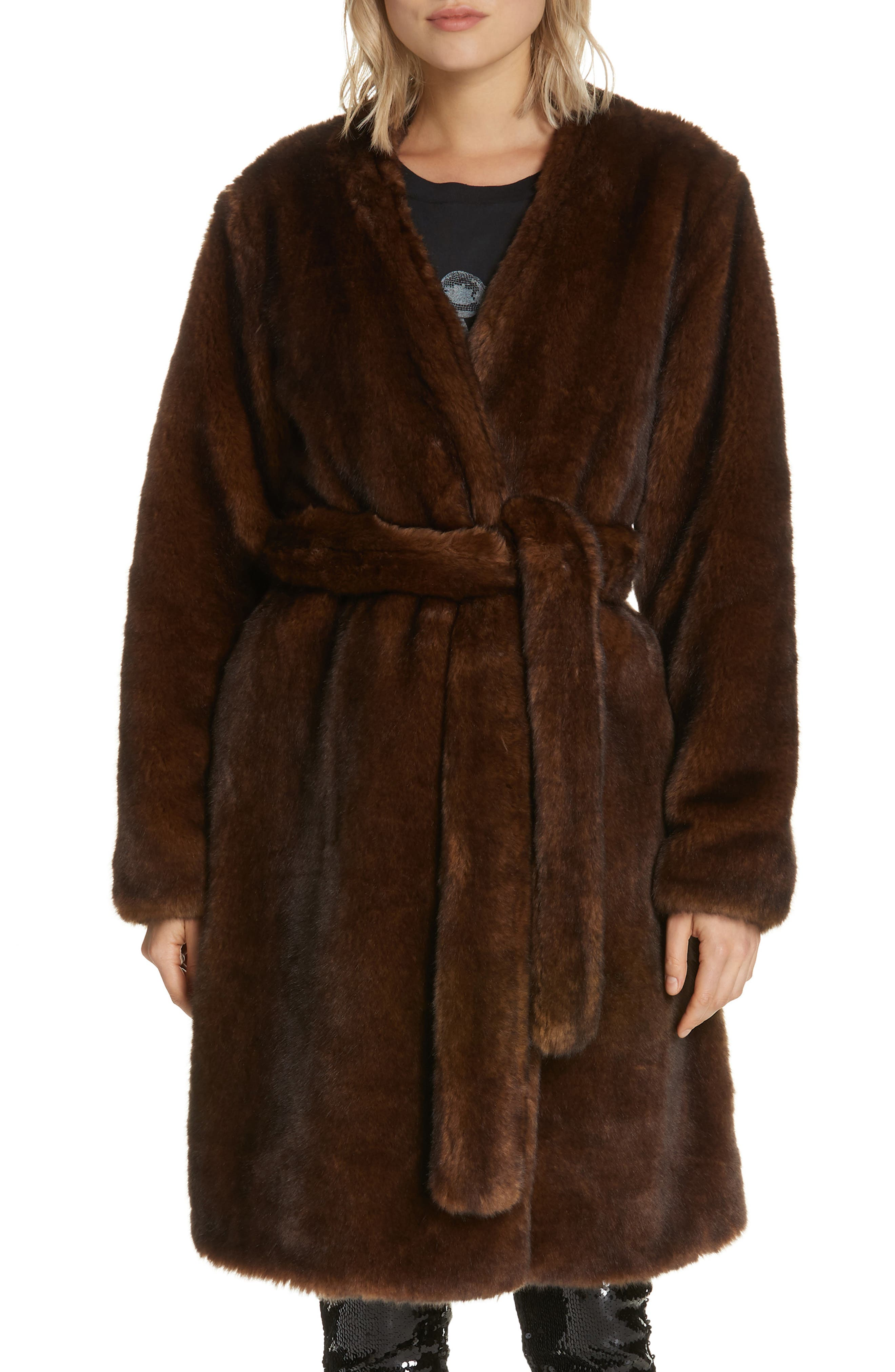 FRAME Faux Mink Fur Robe Coat, Main, color, 201