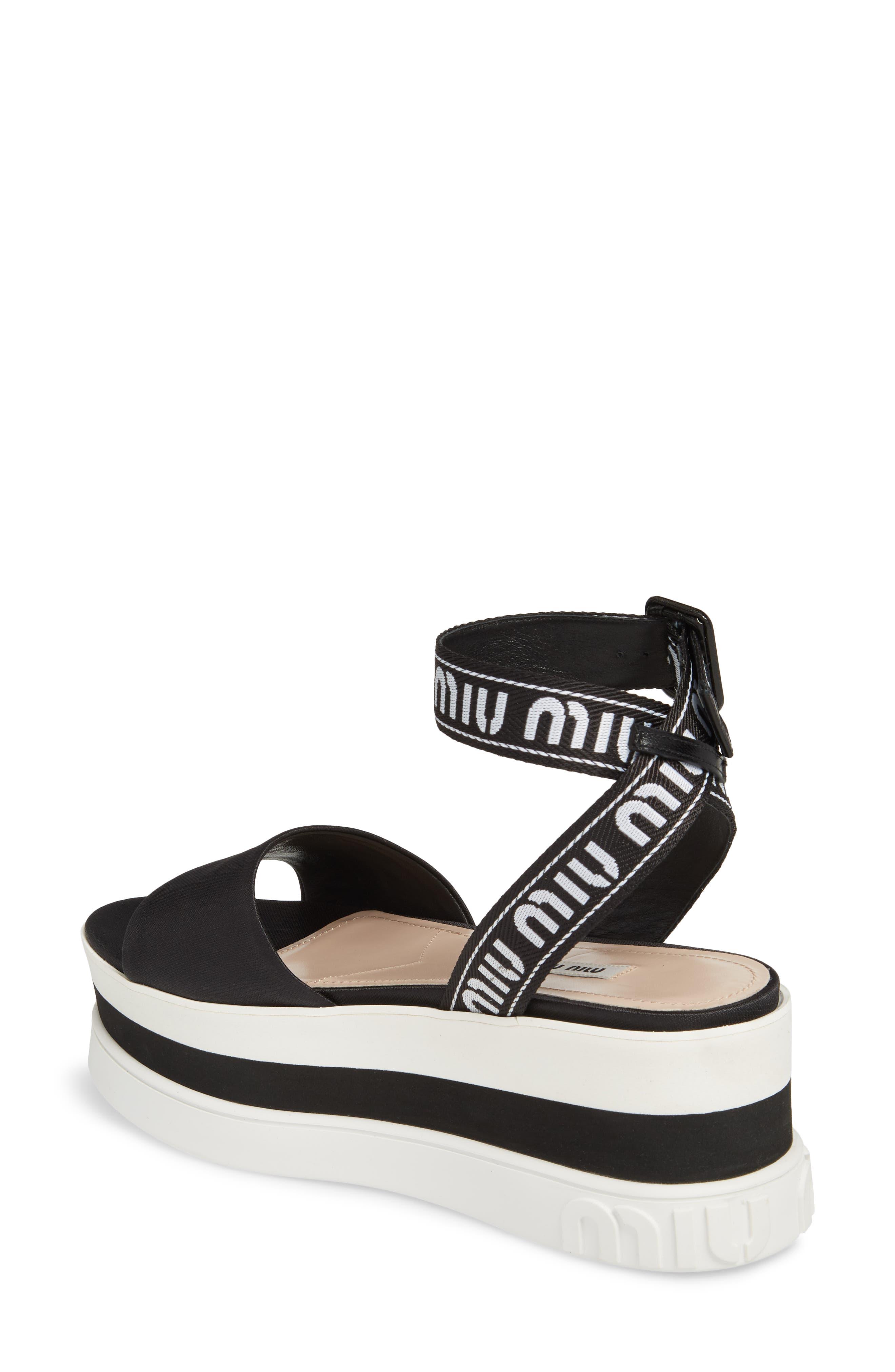 MIU MIU,                             Flatform Logo Sandal,                             Alternate thumbnail 2, color,                             BLACK