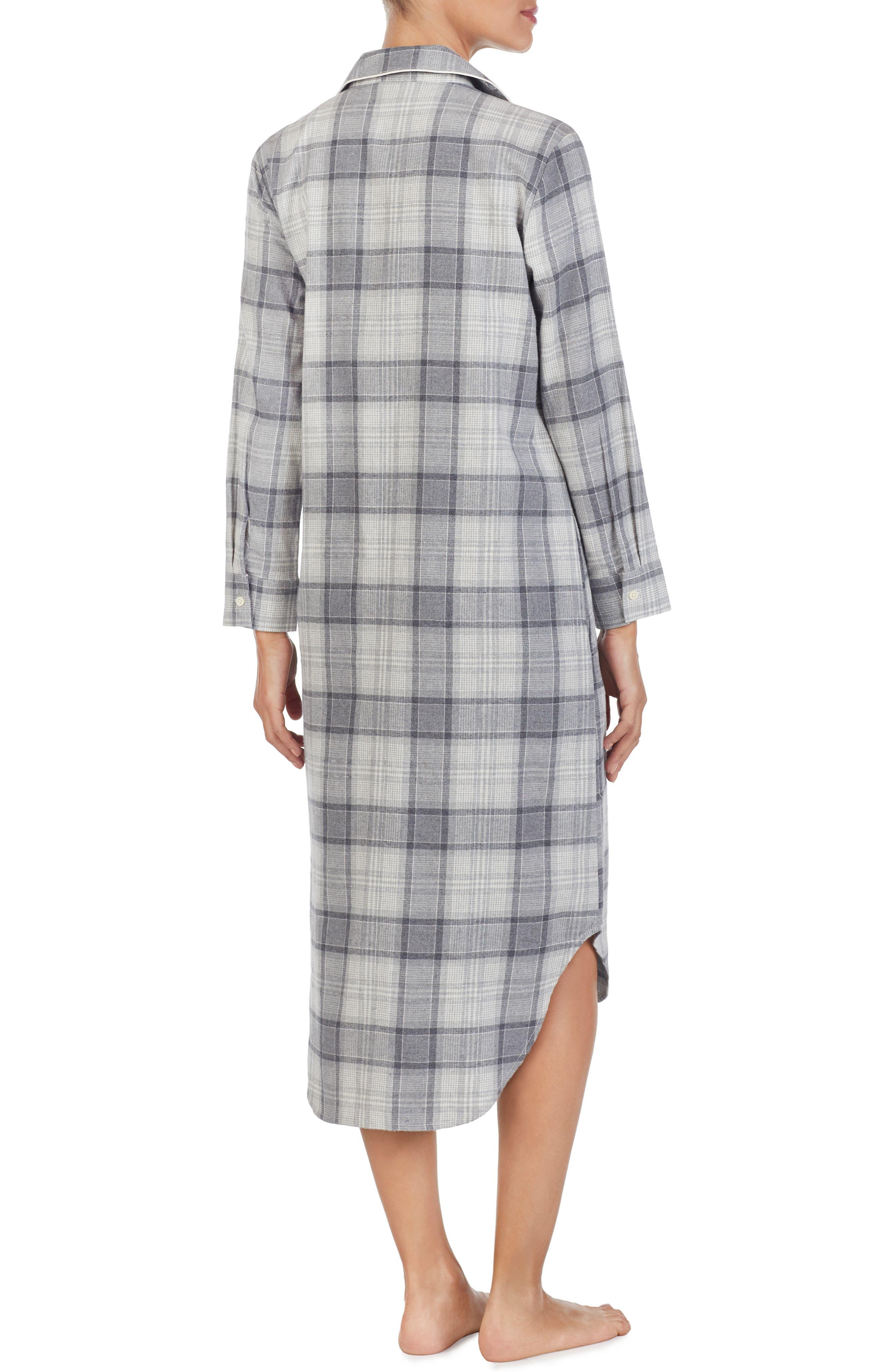 Plaid Flannel Sleep Shirt,                             Alternate thumbnail 2, color,                             GREY PLAID