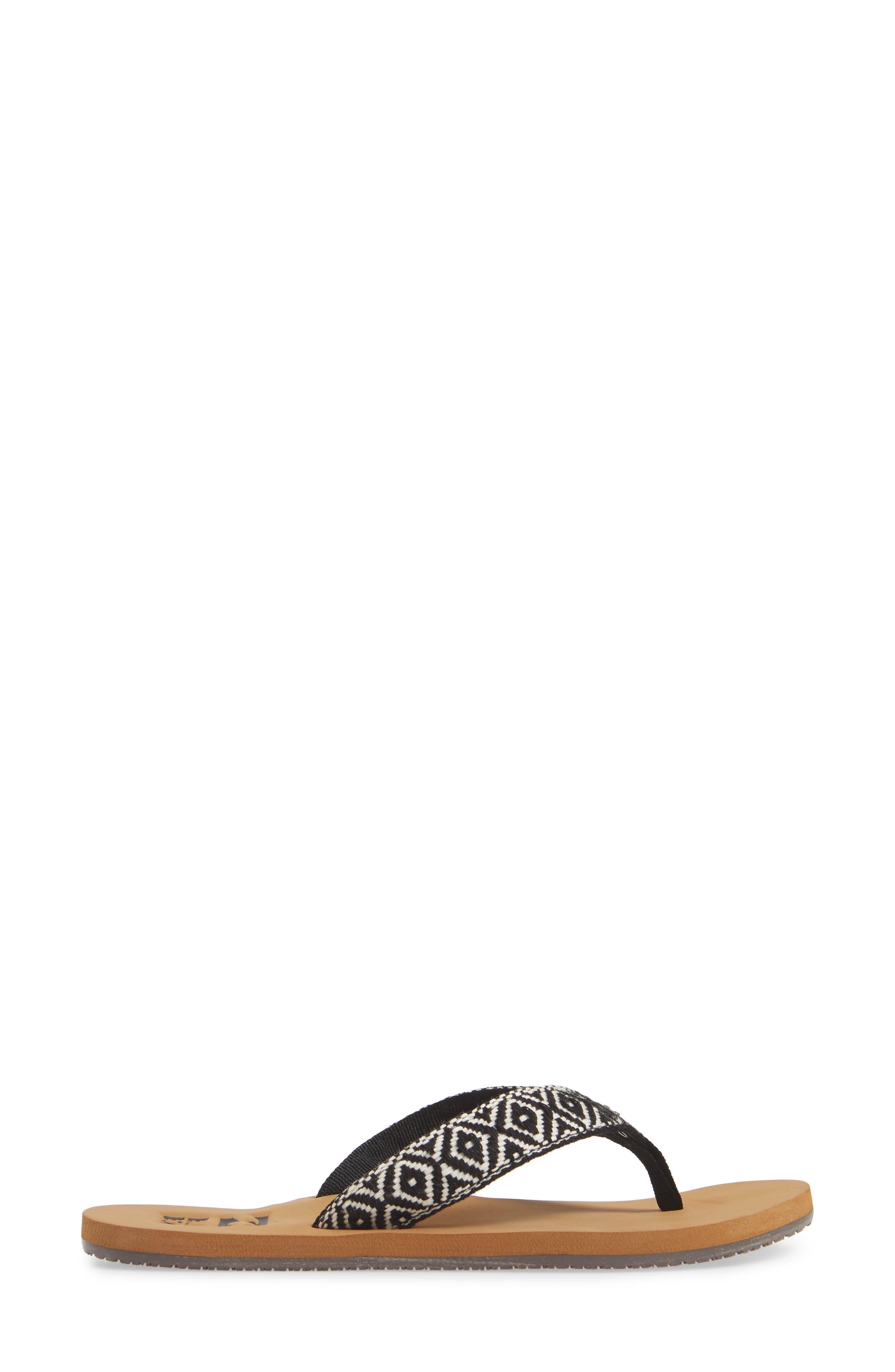Baja Flip Flop,                             Alternate thumbnail 3, color,                             BLACK/ WHITE
