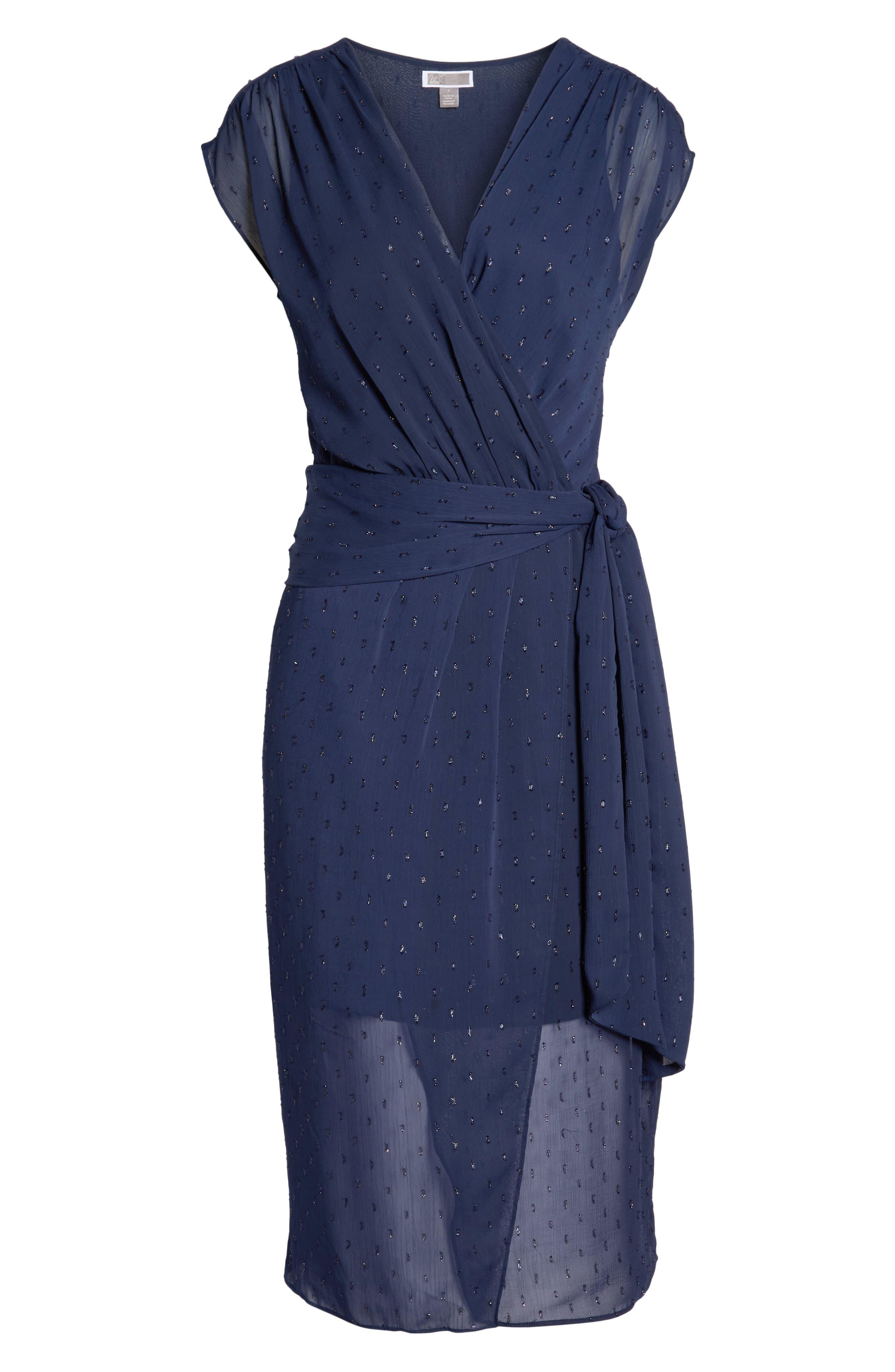 CHELSEA28,                             Fil Coupé Wrap Dress,                             Alternate thumbnail 8, color,                             NAVY SAPPHIRE CLIPDOT