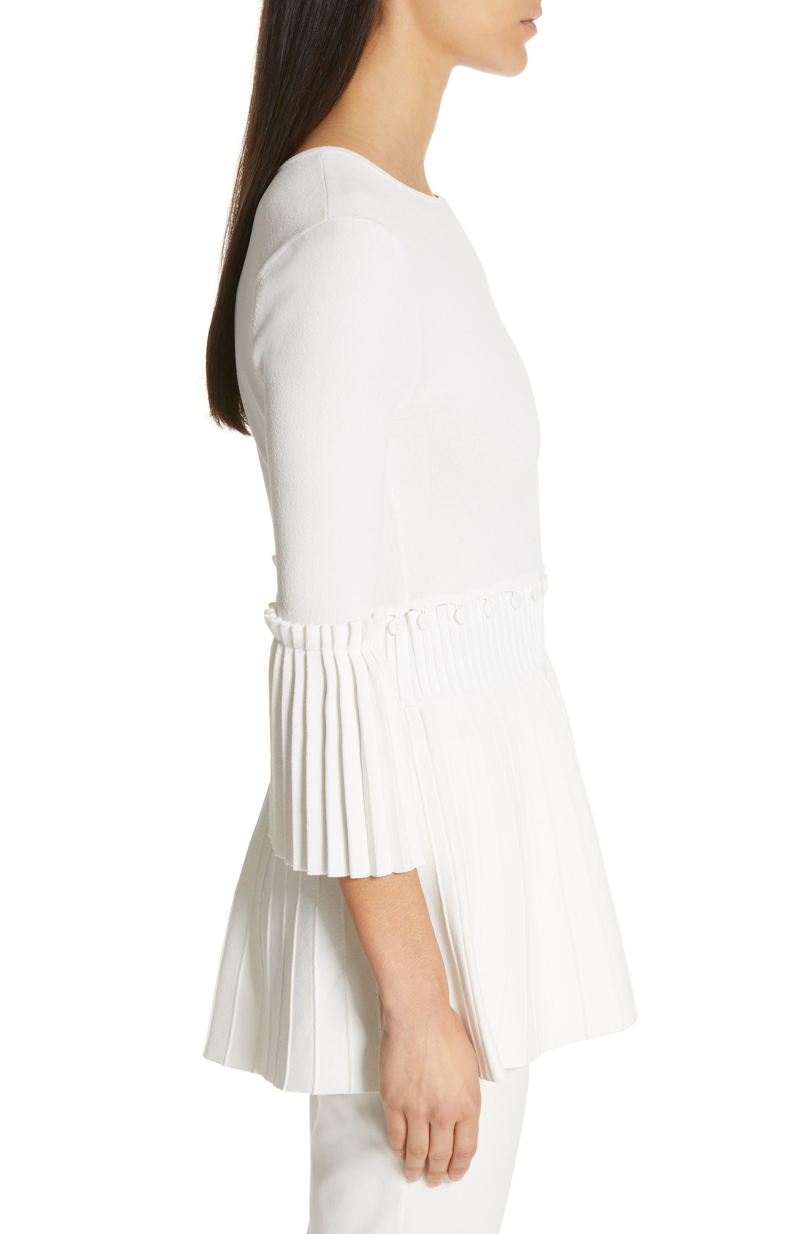 LELA ROSE,                             Pleated Knit Top,                             Alternate thumbnail 3, color,                             WHITE