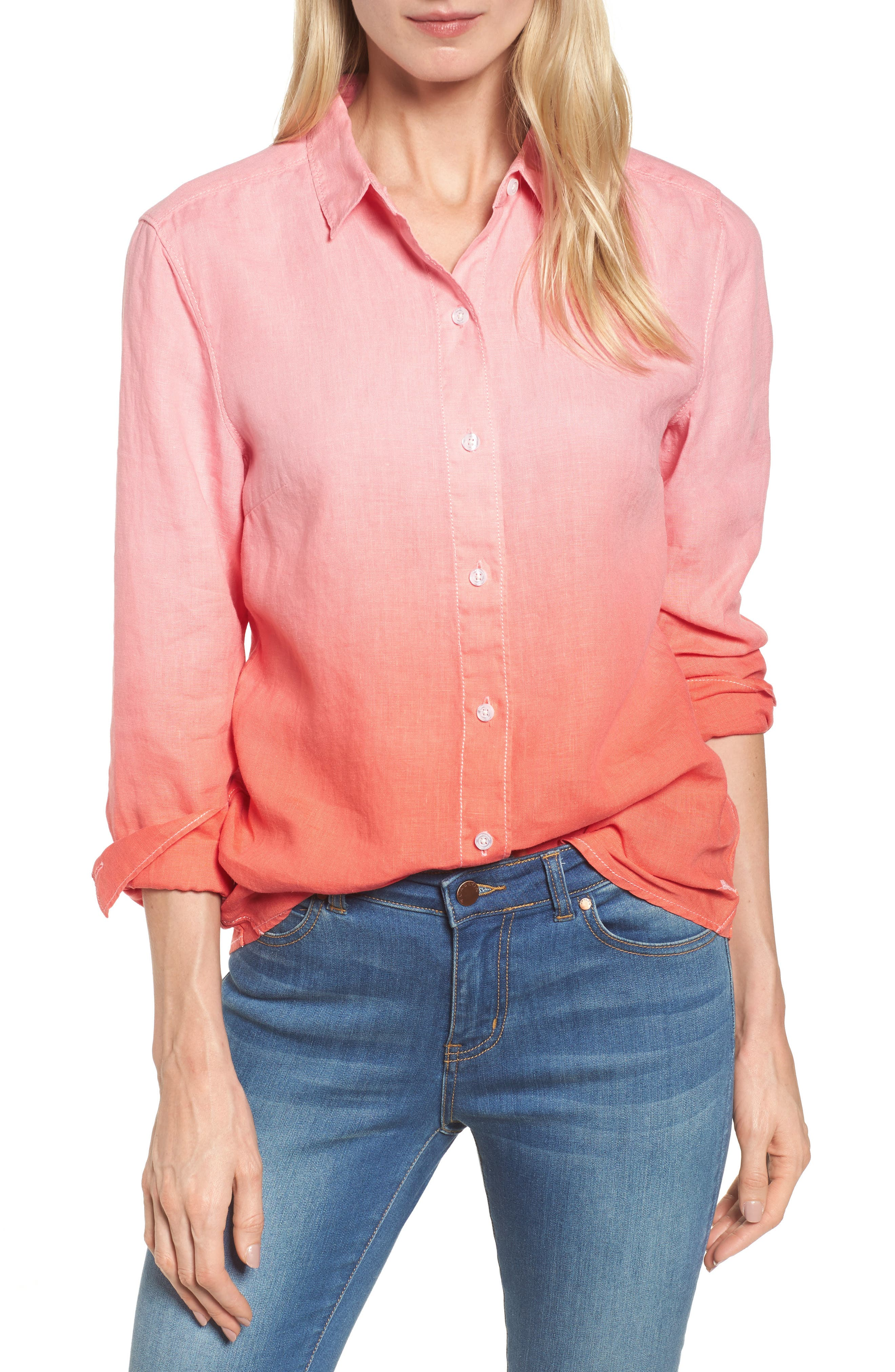 Two Palms Dip Dye Top,                         Main,                         color, CABANA PINK/ BURNT CORAL