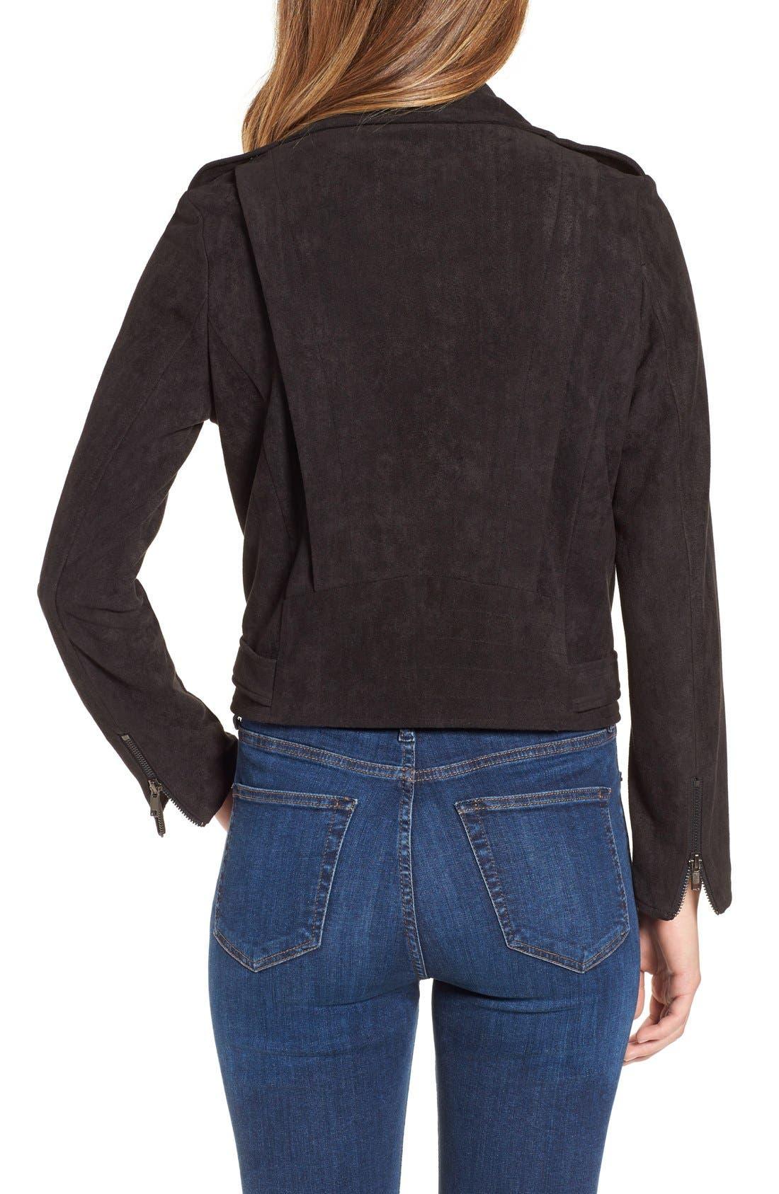ASTR 'Velma' Faux Suede Moto Jacket,                             Alternate thumbnail 2, color,                             004