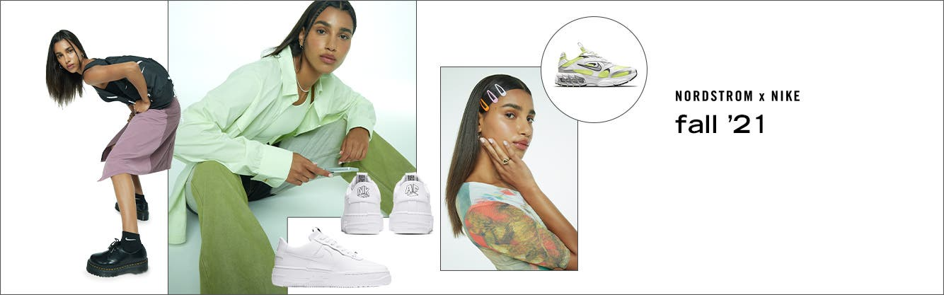 Model wearing multiple outfits with clothing, shoes and accessories from Nordstrom x Nike Fall '21.