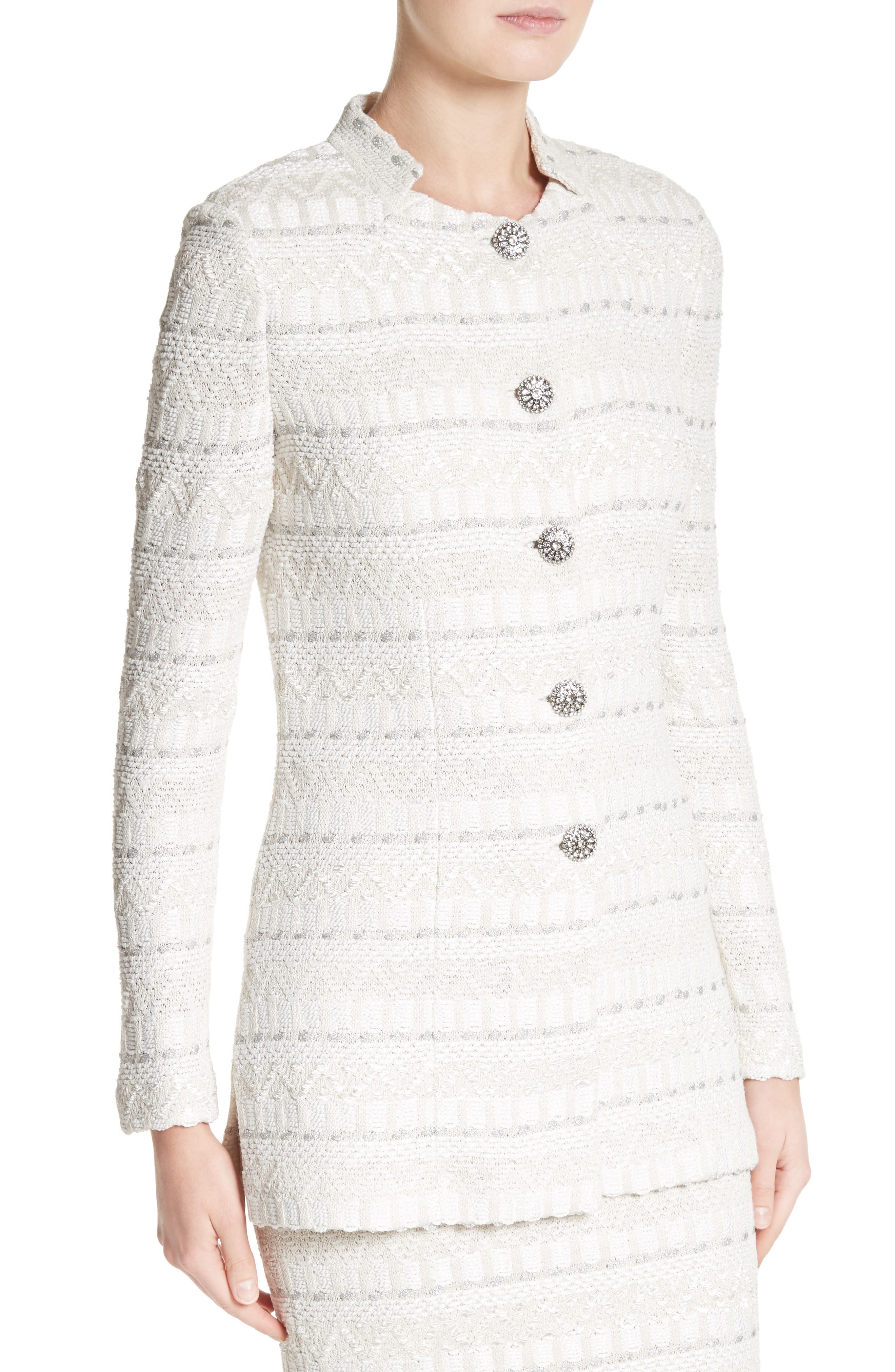 Samar Knit Tweed Jacket,                             Alternate thumbnail 4, color,                             100