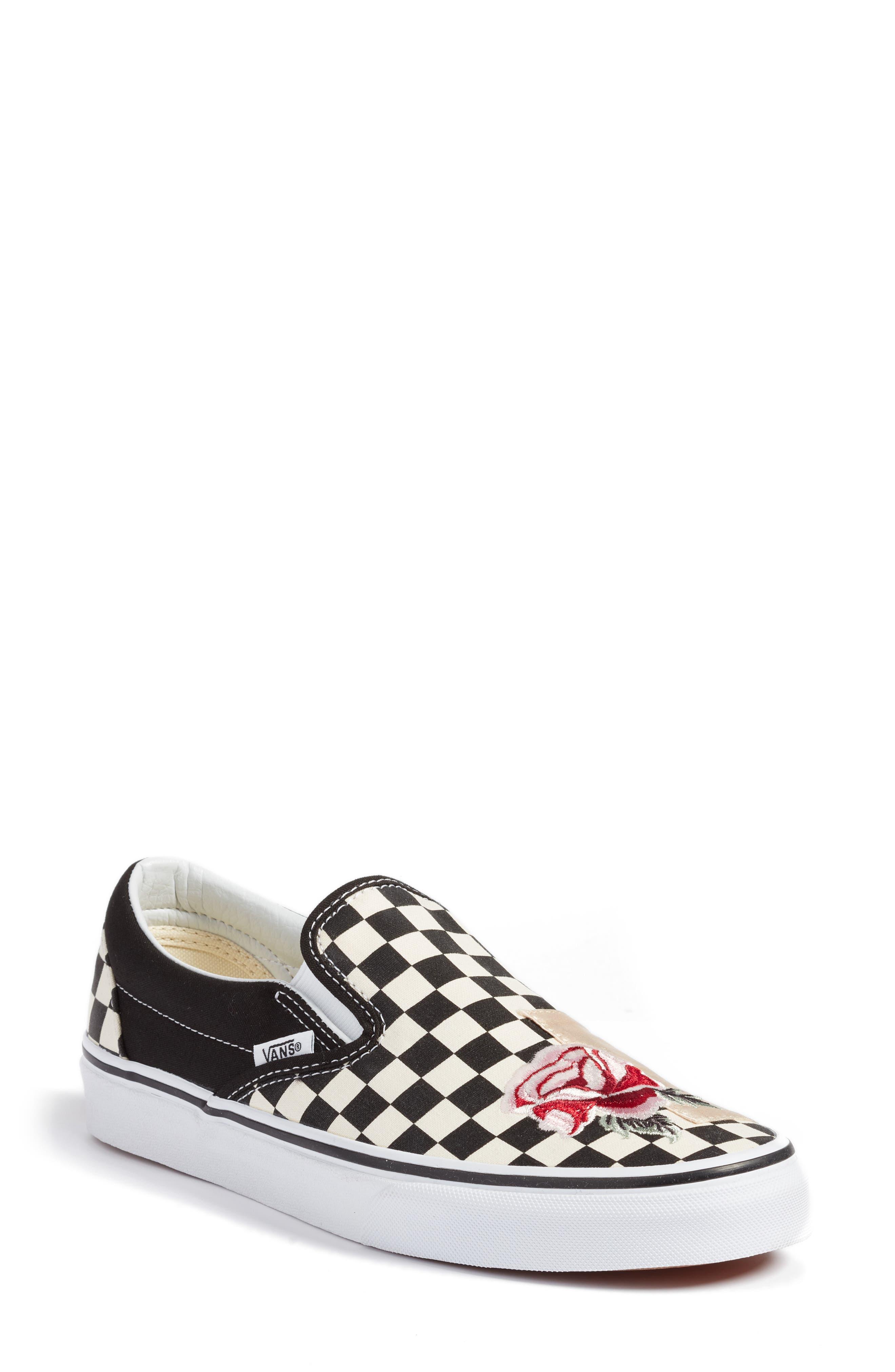 UA Classic Slip-On Sneaker,                             Main thumbnail 1, color,                             CHECKER/ ROSE