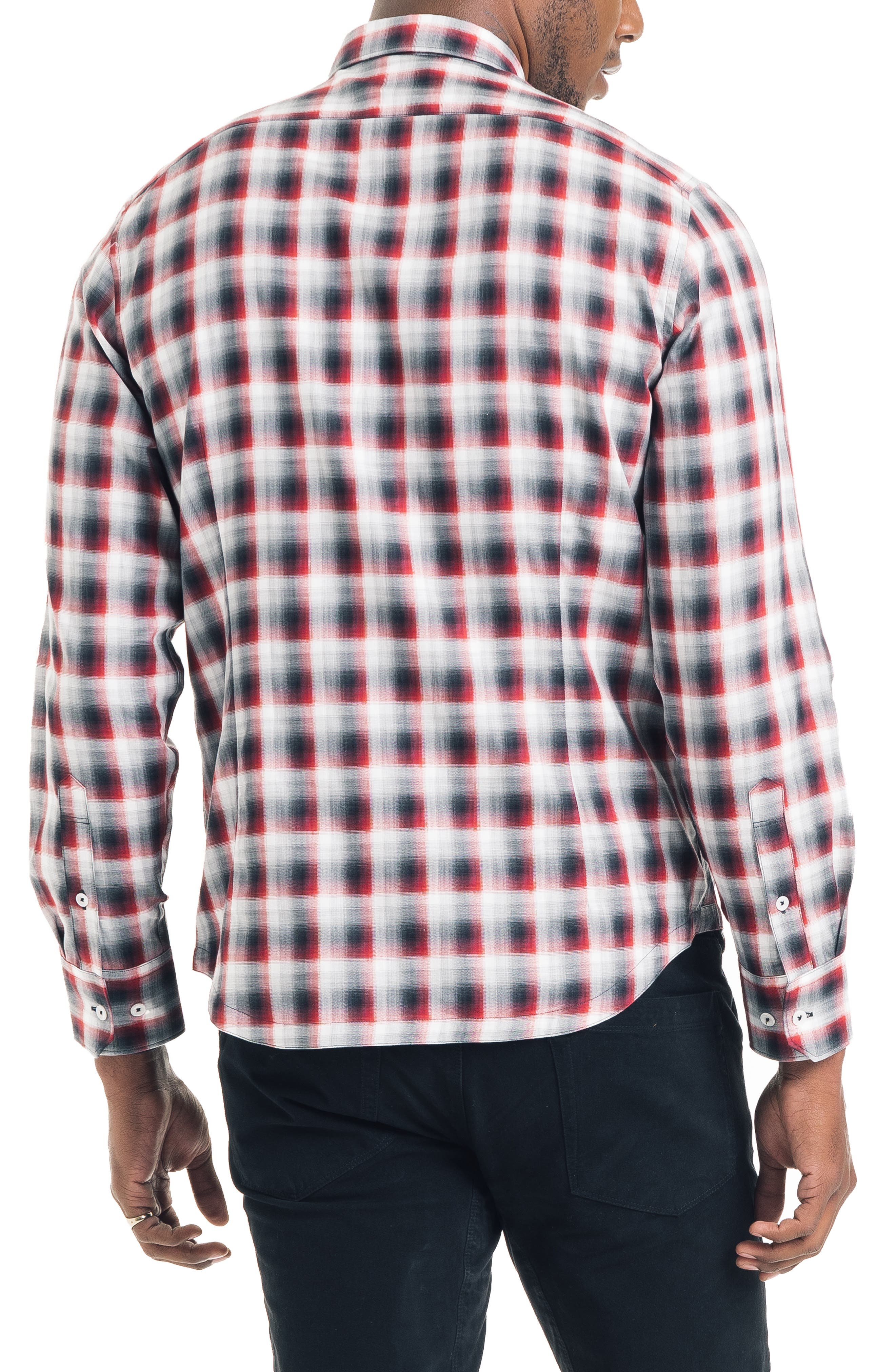Slim Fit Ombré Plaid Sport Shirt,                             Alternate thumbnail 2, color,                             FIRE