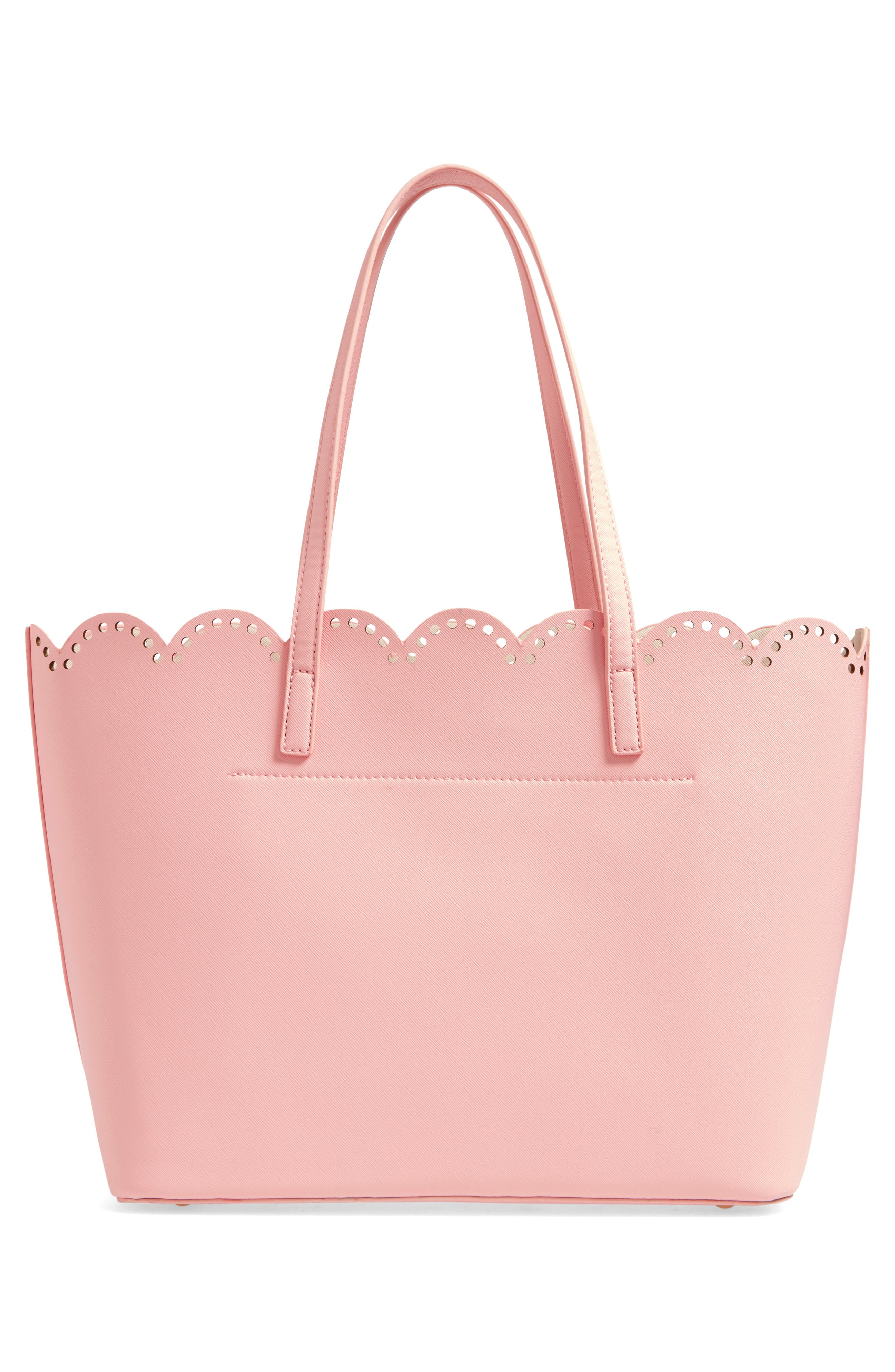 Scalloped Faux Leather Tote,                             Alternate thumbnail 23, color,