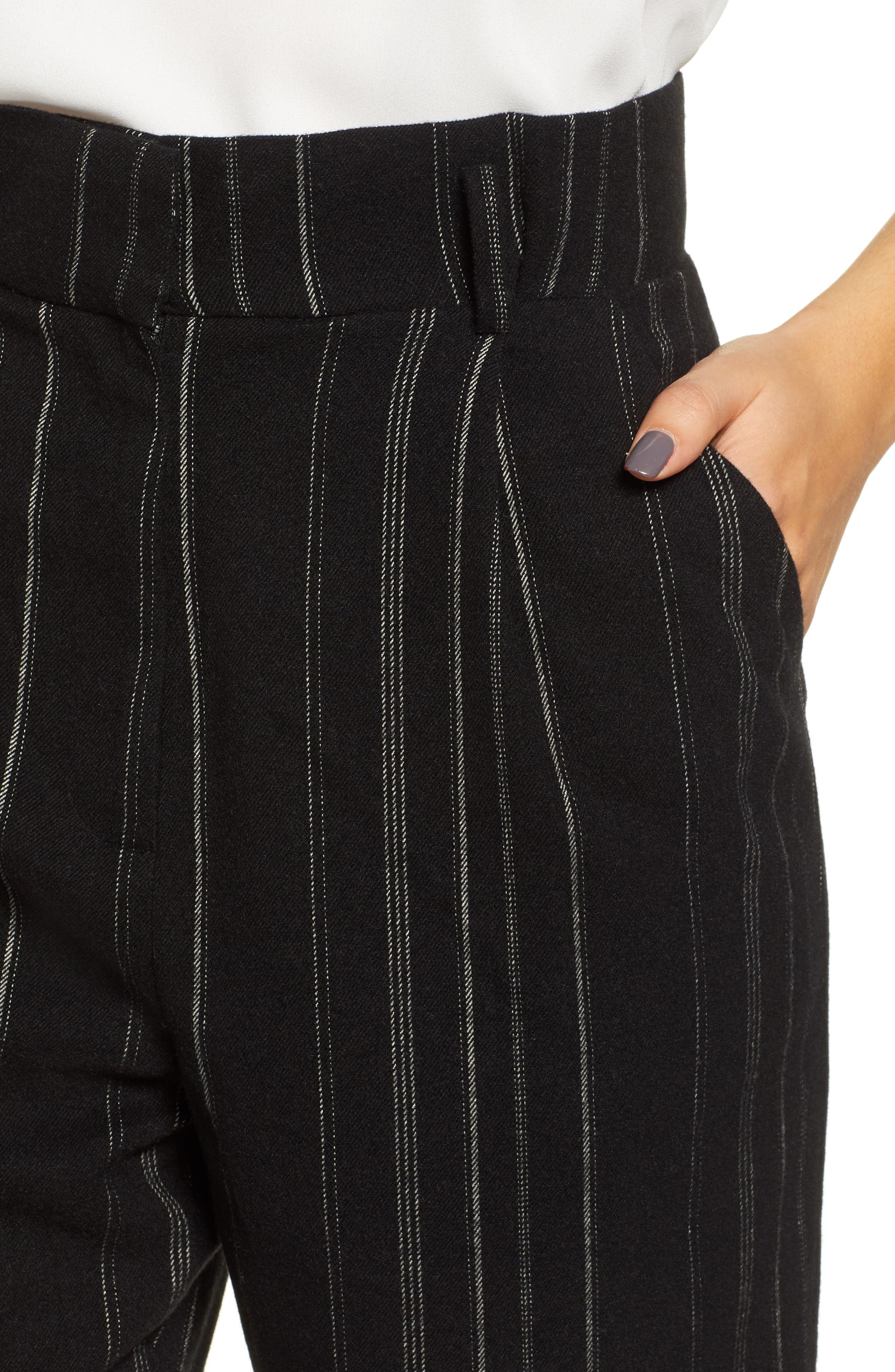 High Rise Belted Paperbag Pants,                             Alternate thumbnail 6, color,                             BLACK MIXED STRIPE