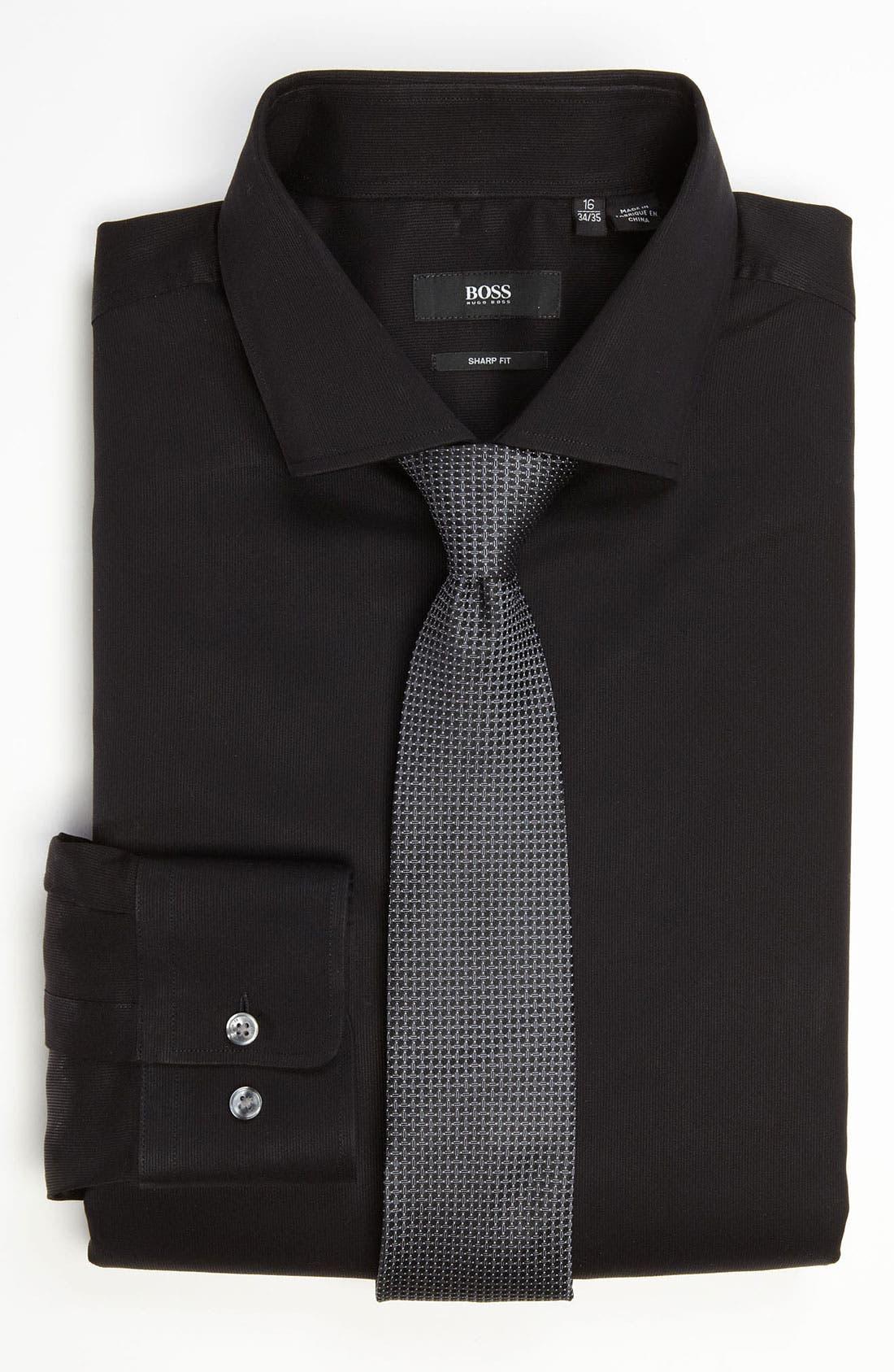 BOSS,                             HUGO BOSS 'Miles' Sharp Fit Tonal Stripe Cotton Dress Shirt,                             Alternate thumbnail 3, color,                             001