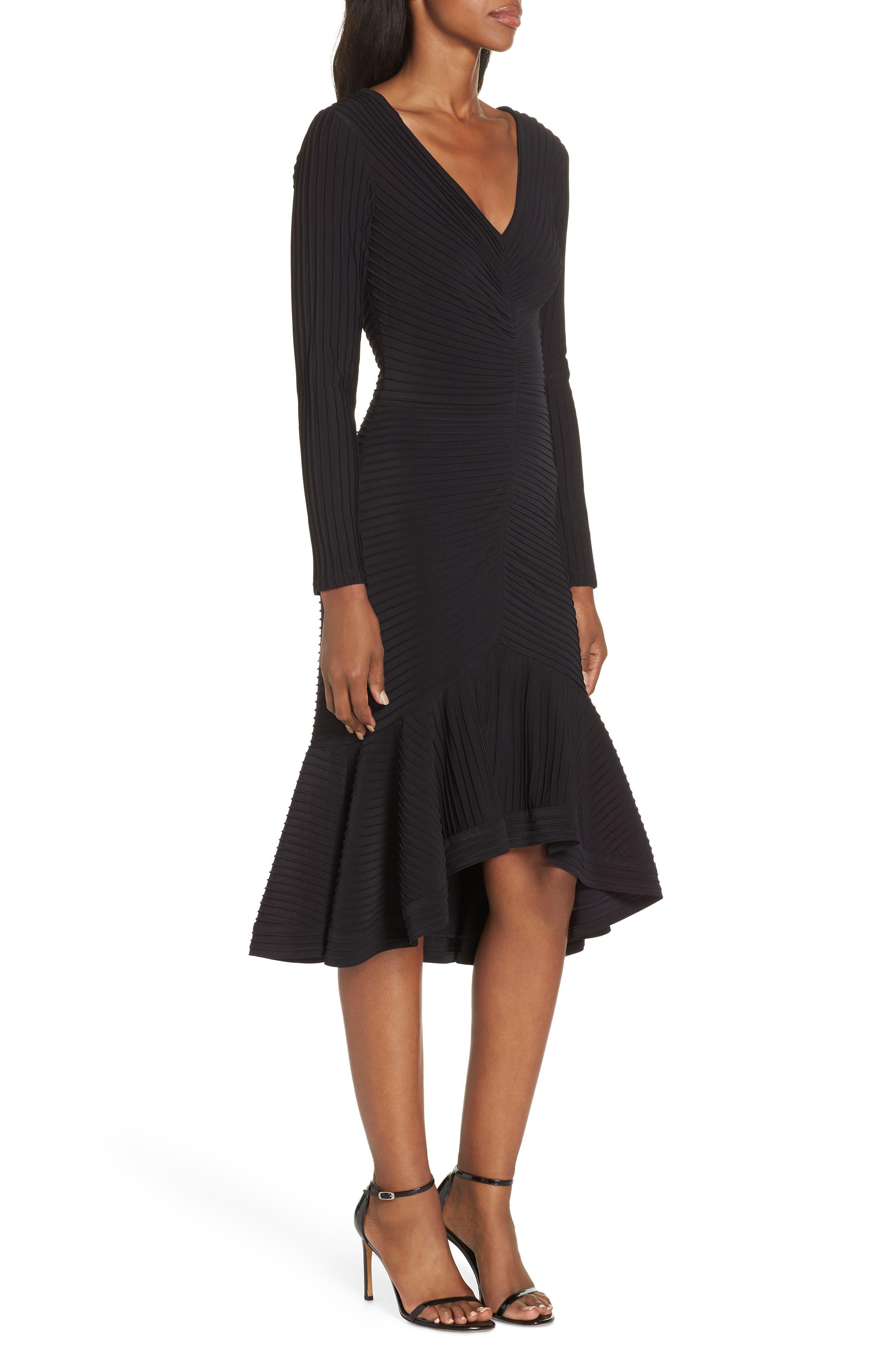 Pintuck High/Low Midi Dress,                             Alternate thumbnail 3, color,                             BLACK
