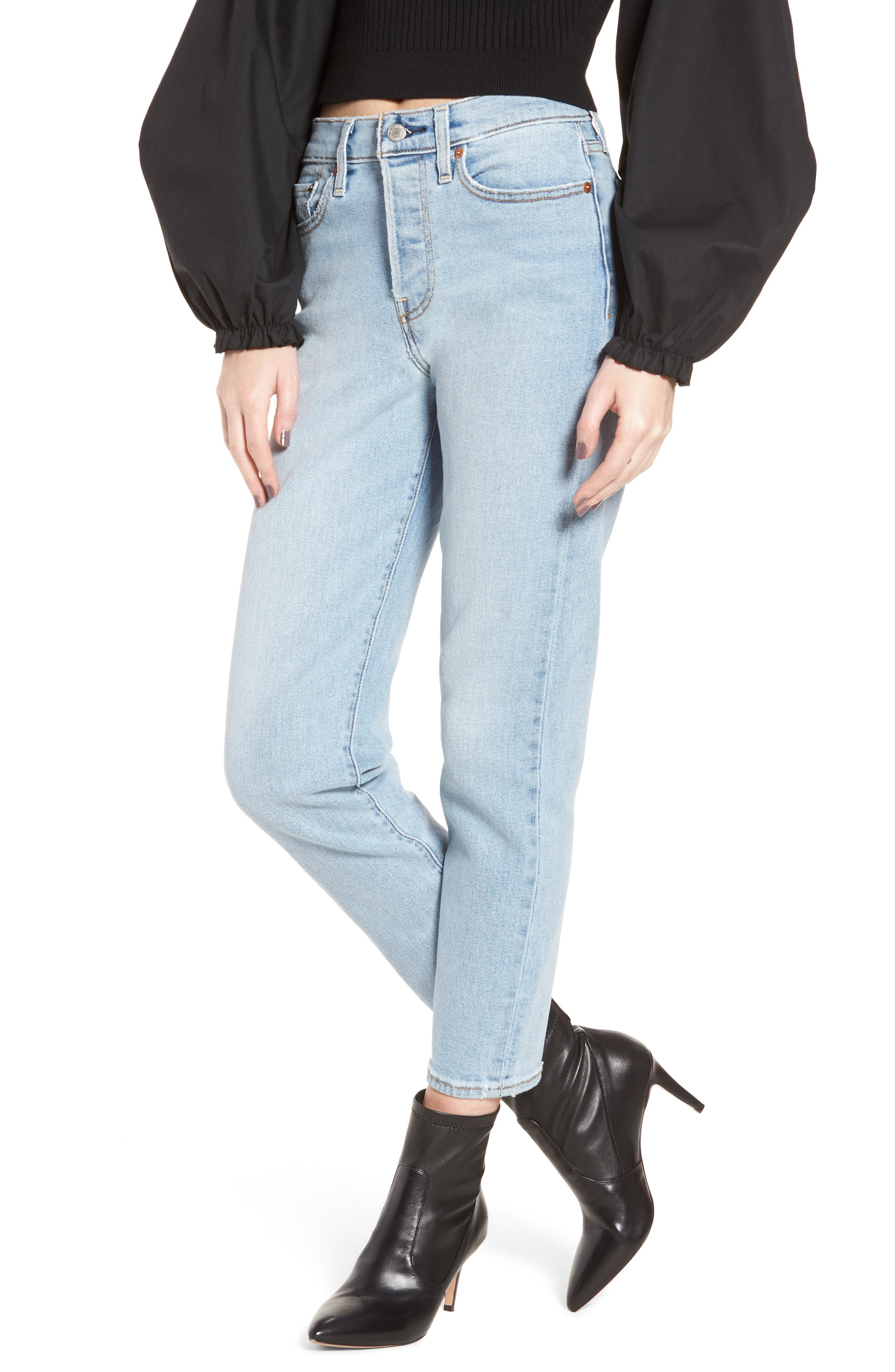 Wedgie Icon Fit High Waist Crop Jeans,                             Main thumbnail 1, color,                             BAUHAUS BLUES
