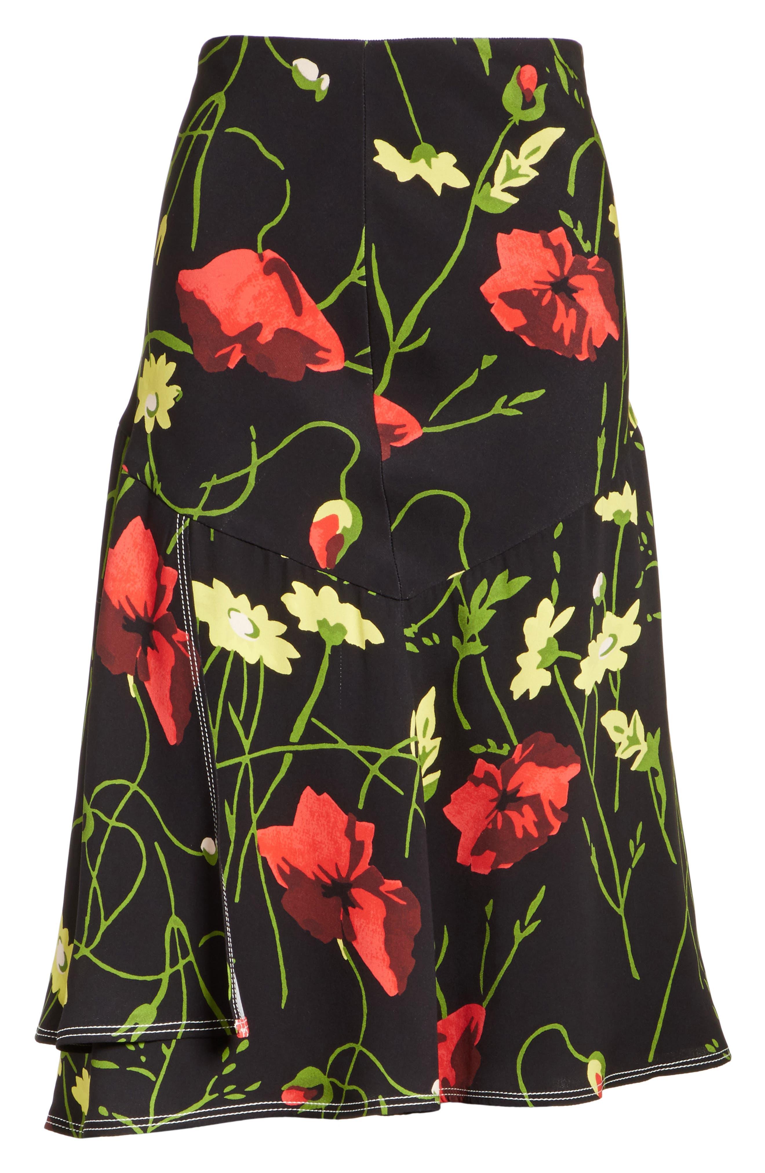 Floral Print Silk Skirt,                             Alternate thumbnail 6, color,                             001