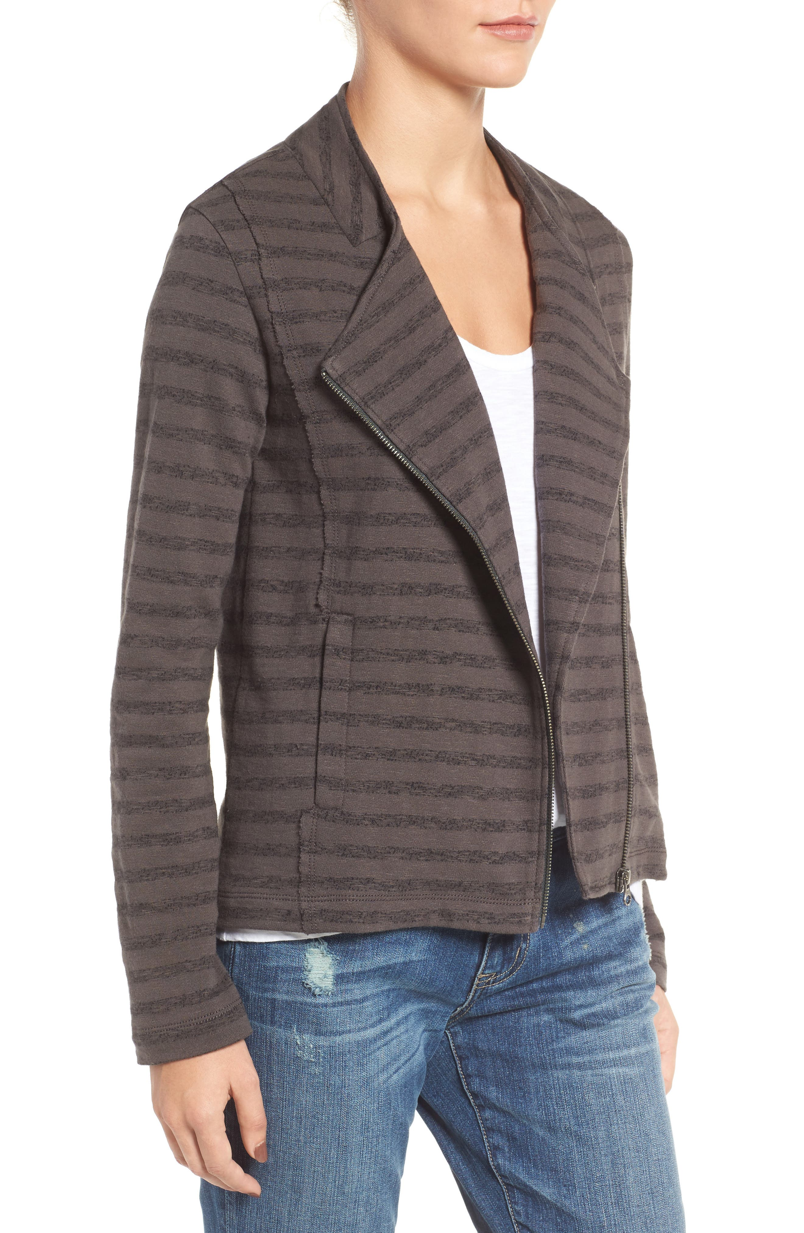 CASLON<SUP>®</SUP>,                             Stripe Moto Jacket,                             Alternate thumbnail 3, color,                             021