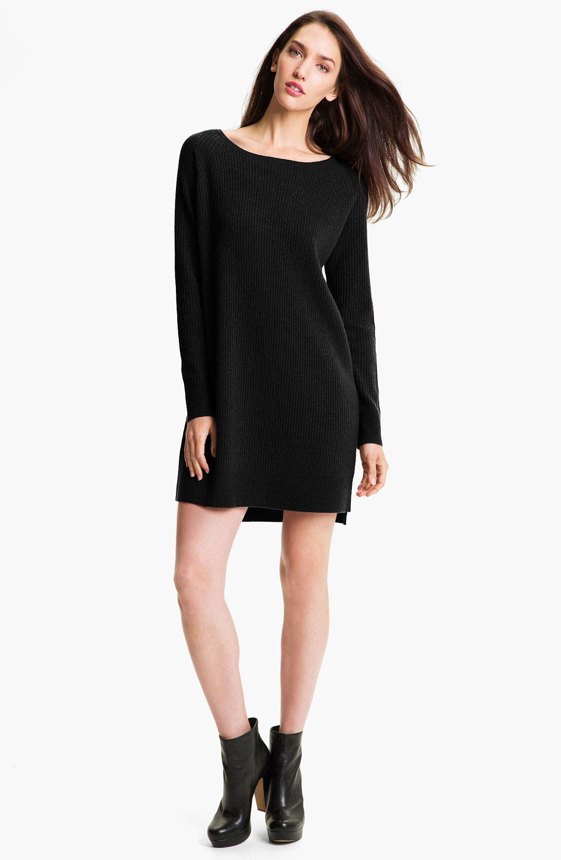 VINCE Ribbed Sweater Dress, Main, color, 001