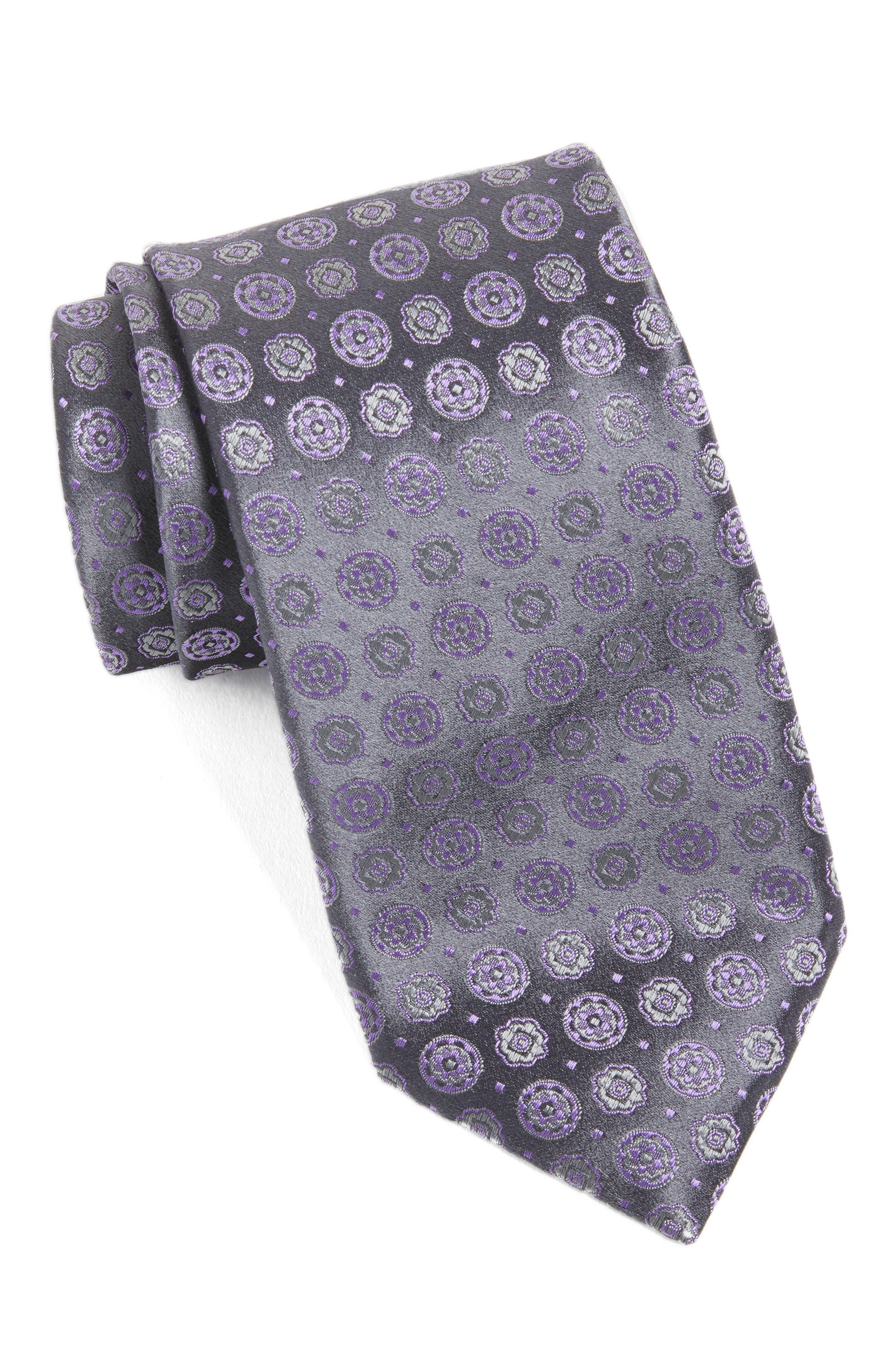 Medallion Silk Tie,                             Main thumbnail 1, color,                             021