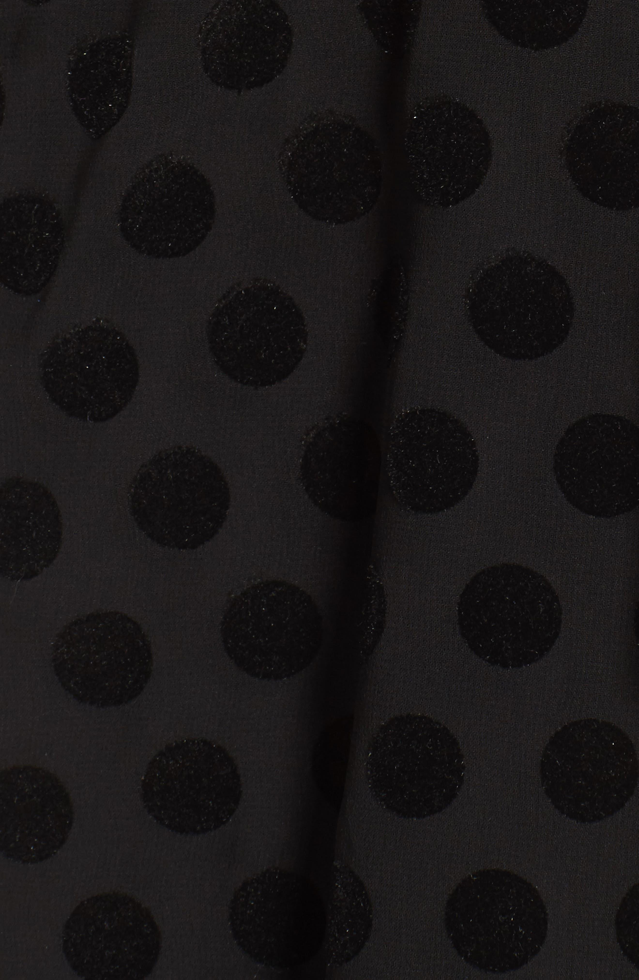 Strapless Flocked Velvet Spot Dress,                             Alternate thumbnail 5, color,                             001