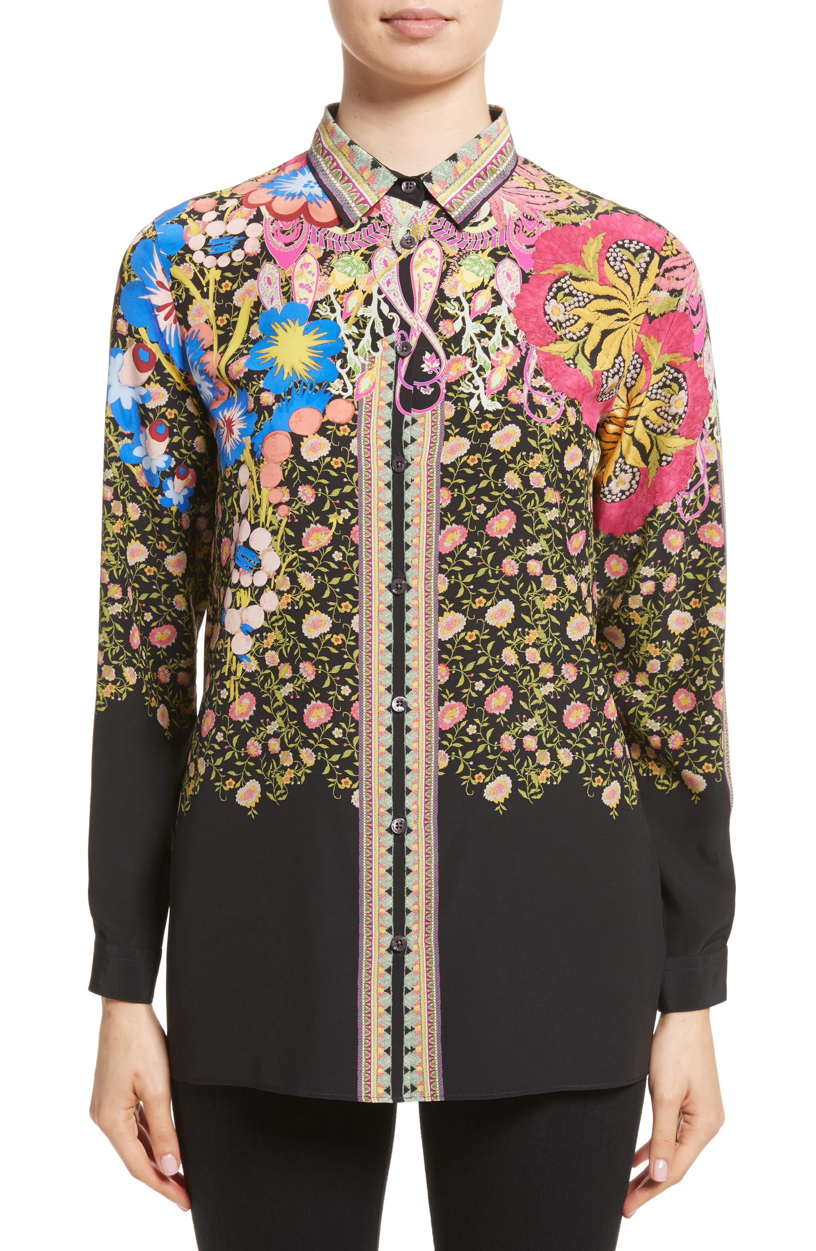 Floral Paisley Print Silk Shirt,                         Main,                         color, 001