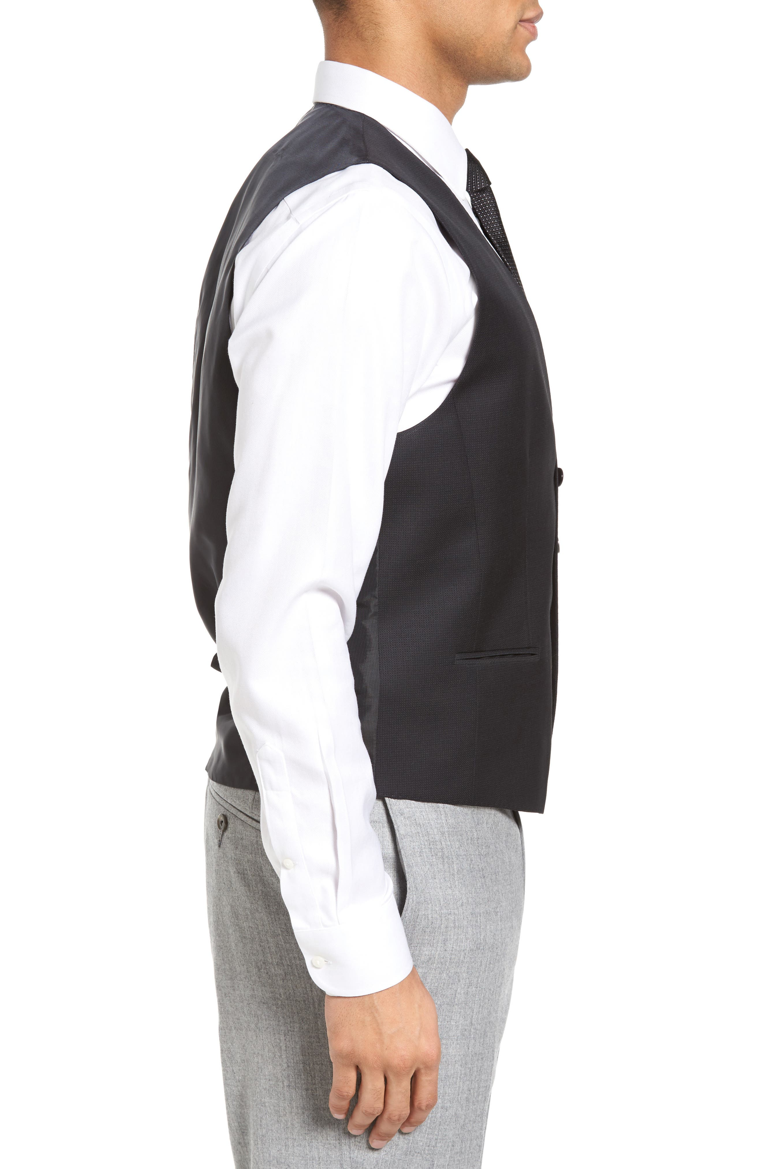 Huge Weste Trim Fit Wool Vest,                             Alternate thumbnail 3, color,                             001