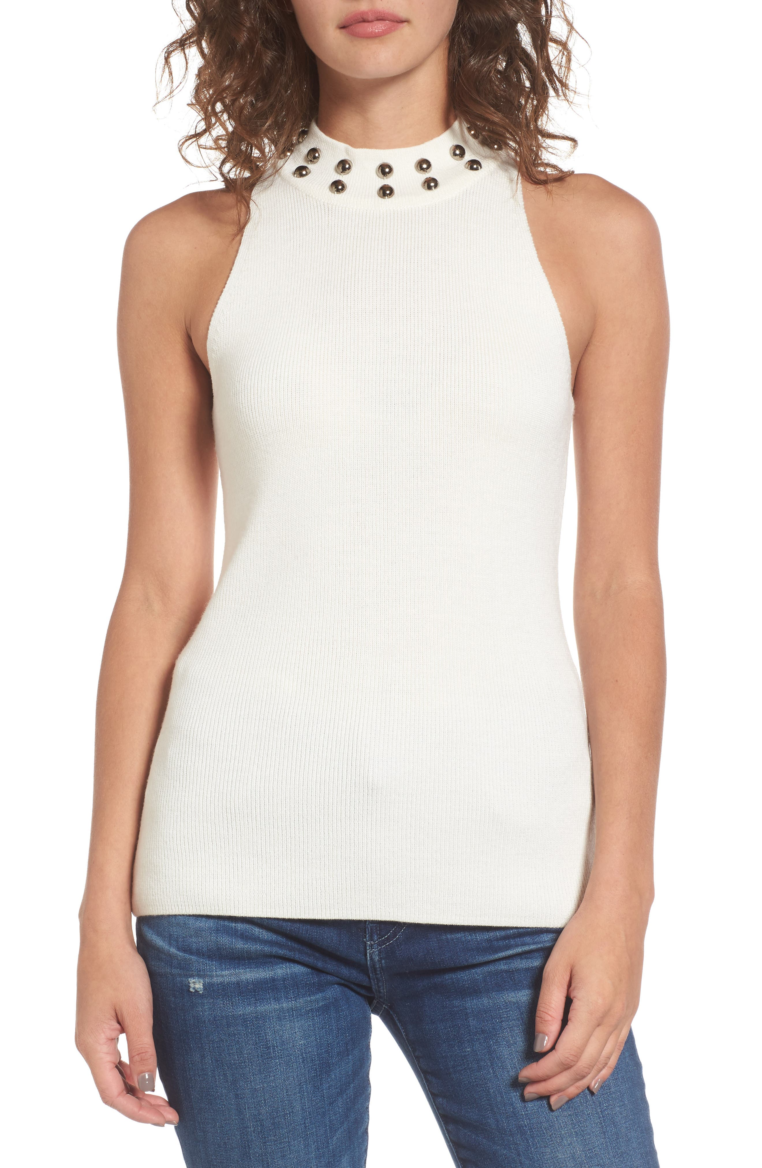 Dome Stud Mock Neck Top,                             Main thumbnail 2, color,