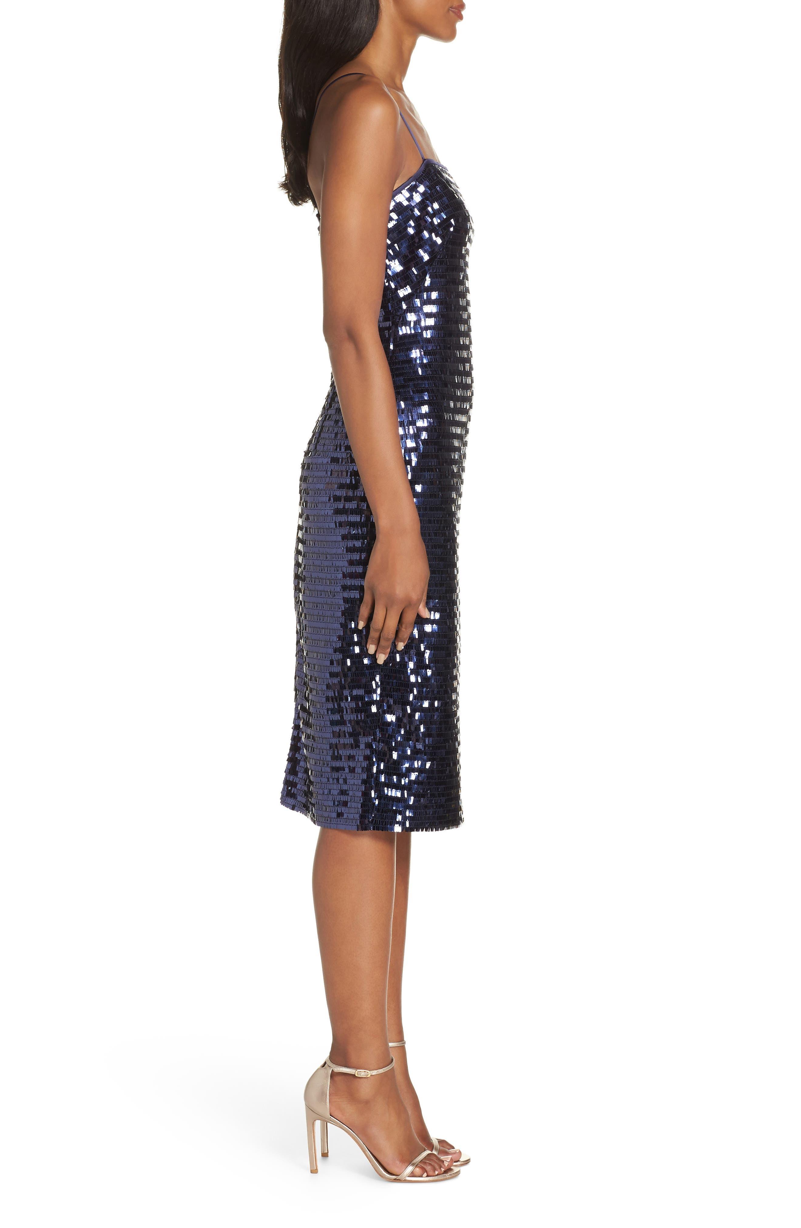 Sequin Sheath Dress,                             Alternate thumbnail 3, color,                             NAVY