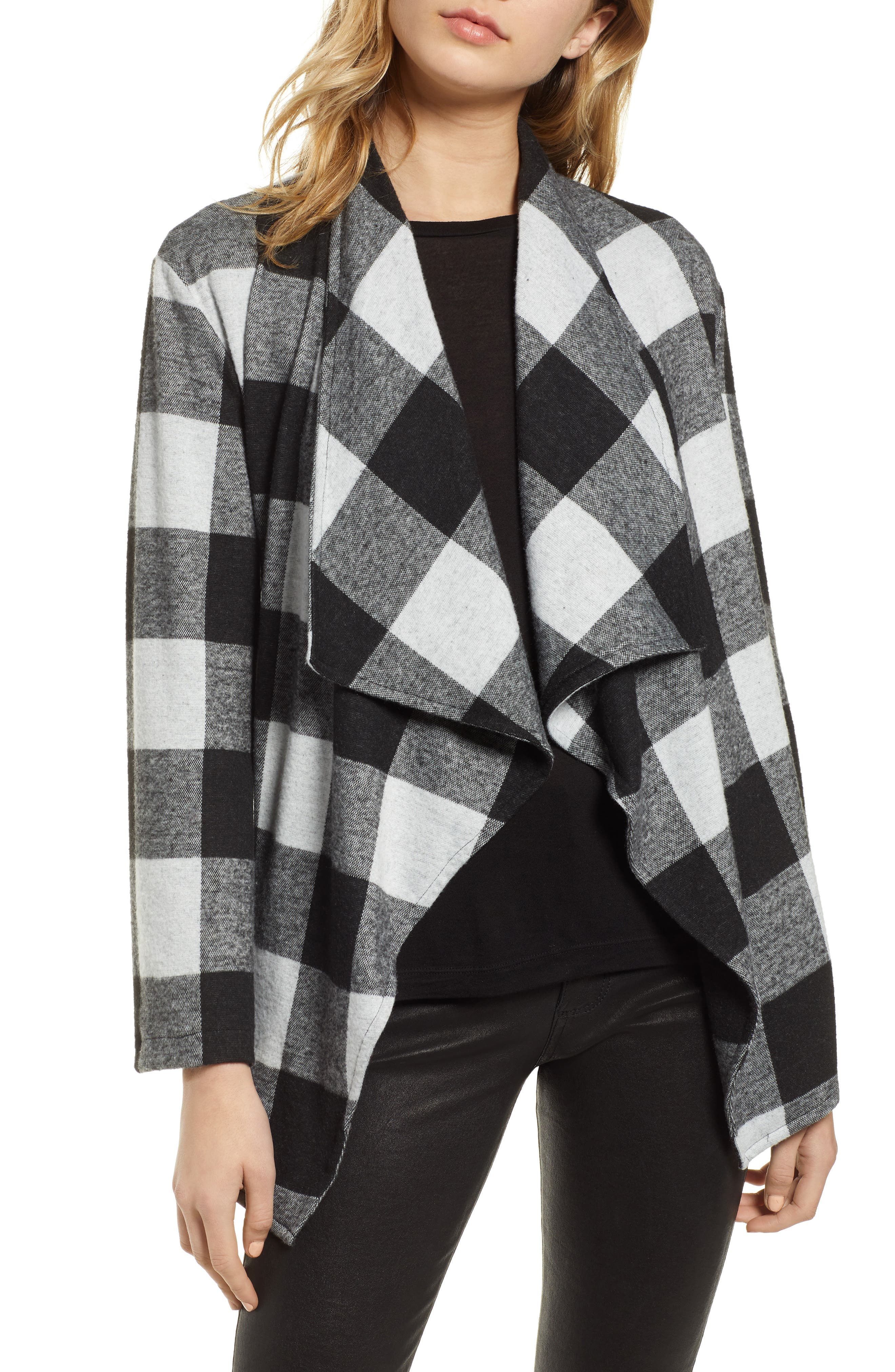 Checking It Open Front Knit Jacket, Main, color, BLACK