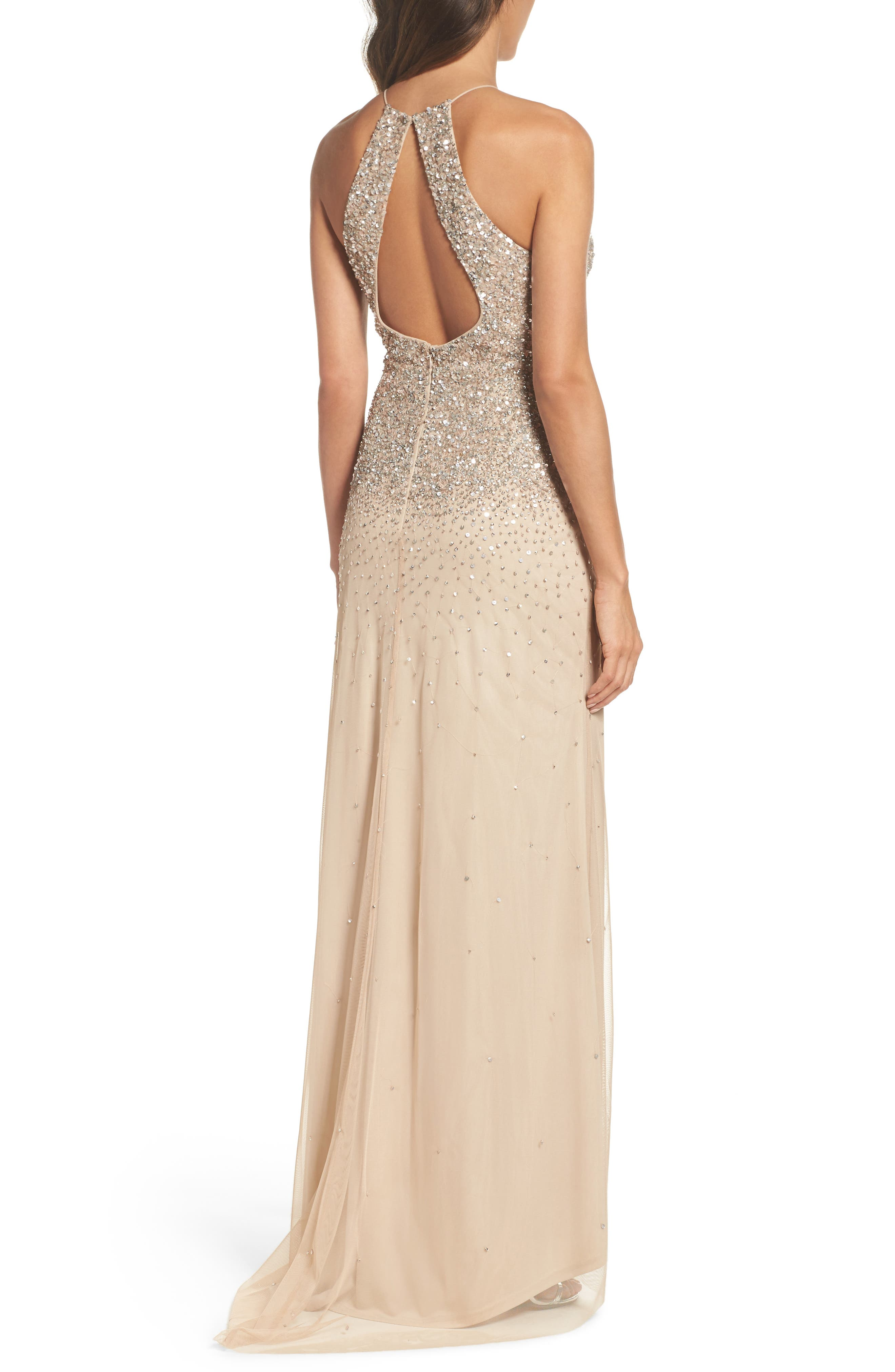 Beaded Halter Gown,                             Alternate thumbnail 2, color,                             273