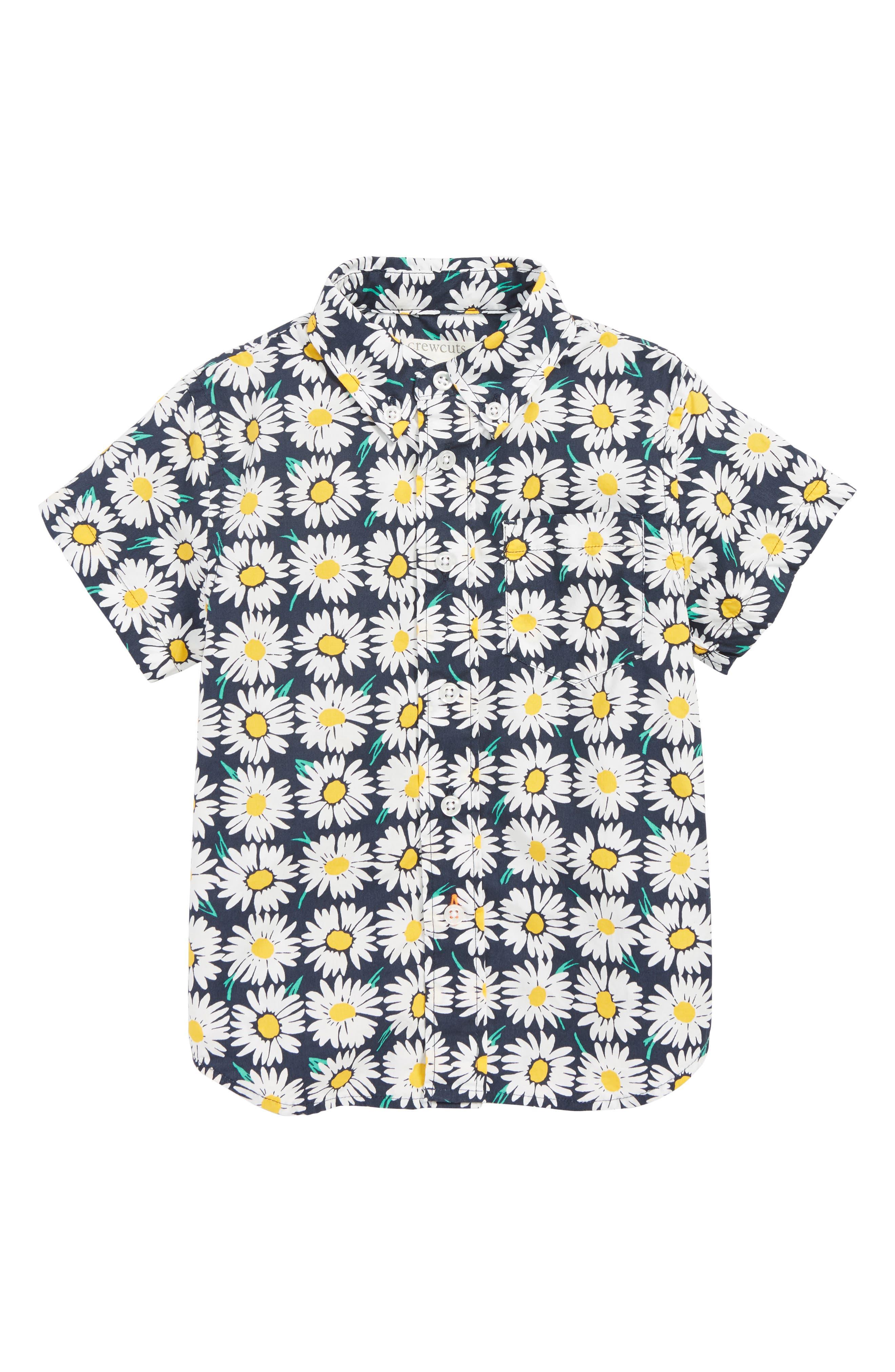 CREWCUTS BY J.CREW Stretch Poplin Button Down Shirt, Main, color, CHECKERBOARD DAISY