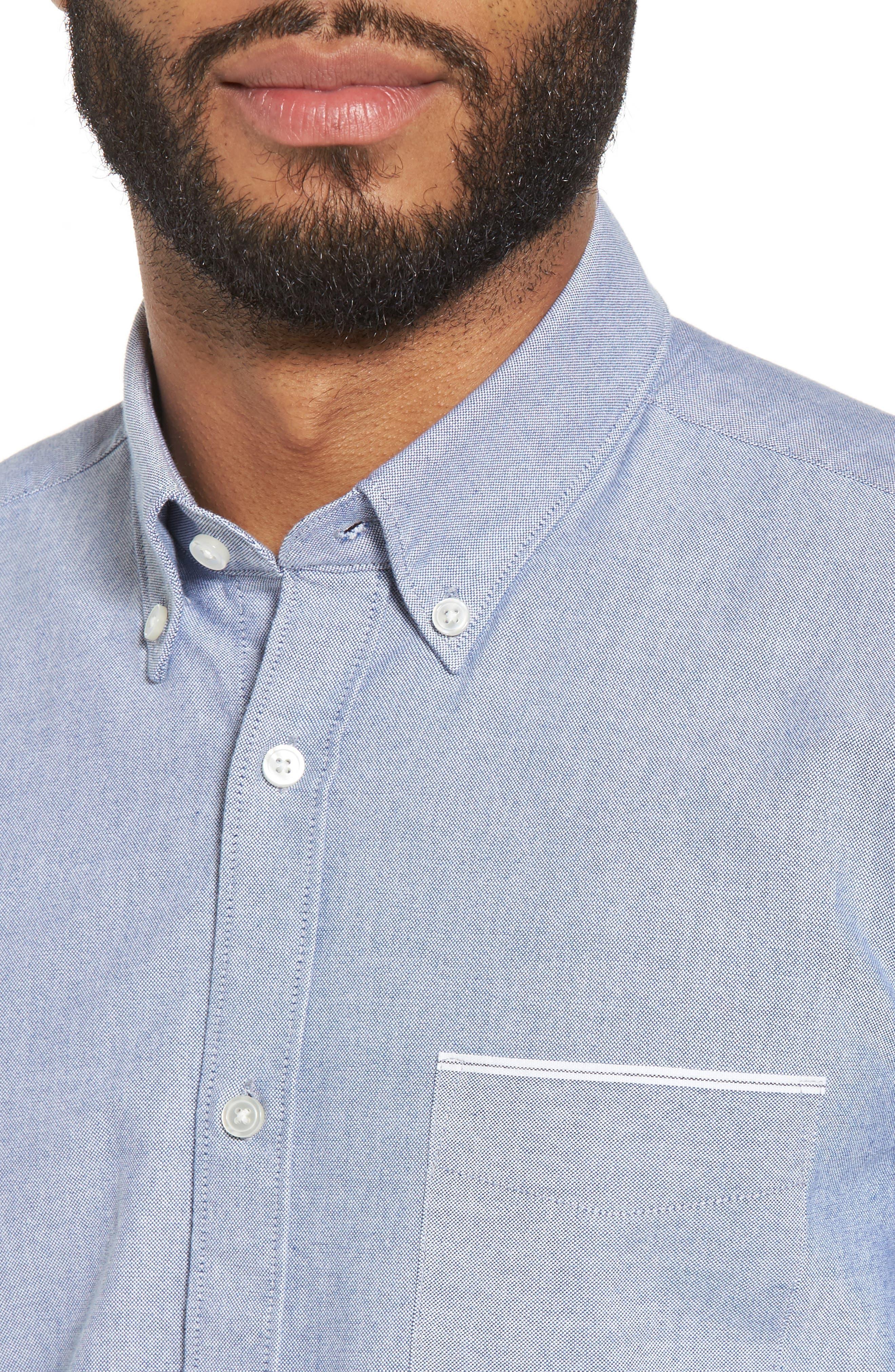 BOSS,                             Rod Trim Fit Solid Sport Shirt,                             Alternate thumbnail 4, color,                             403