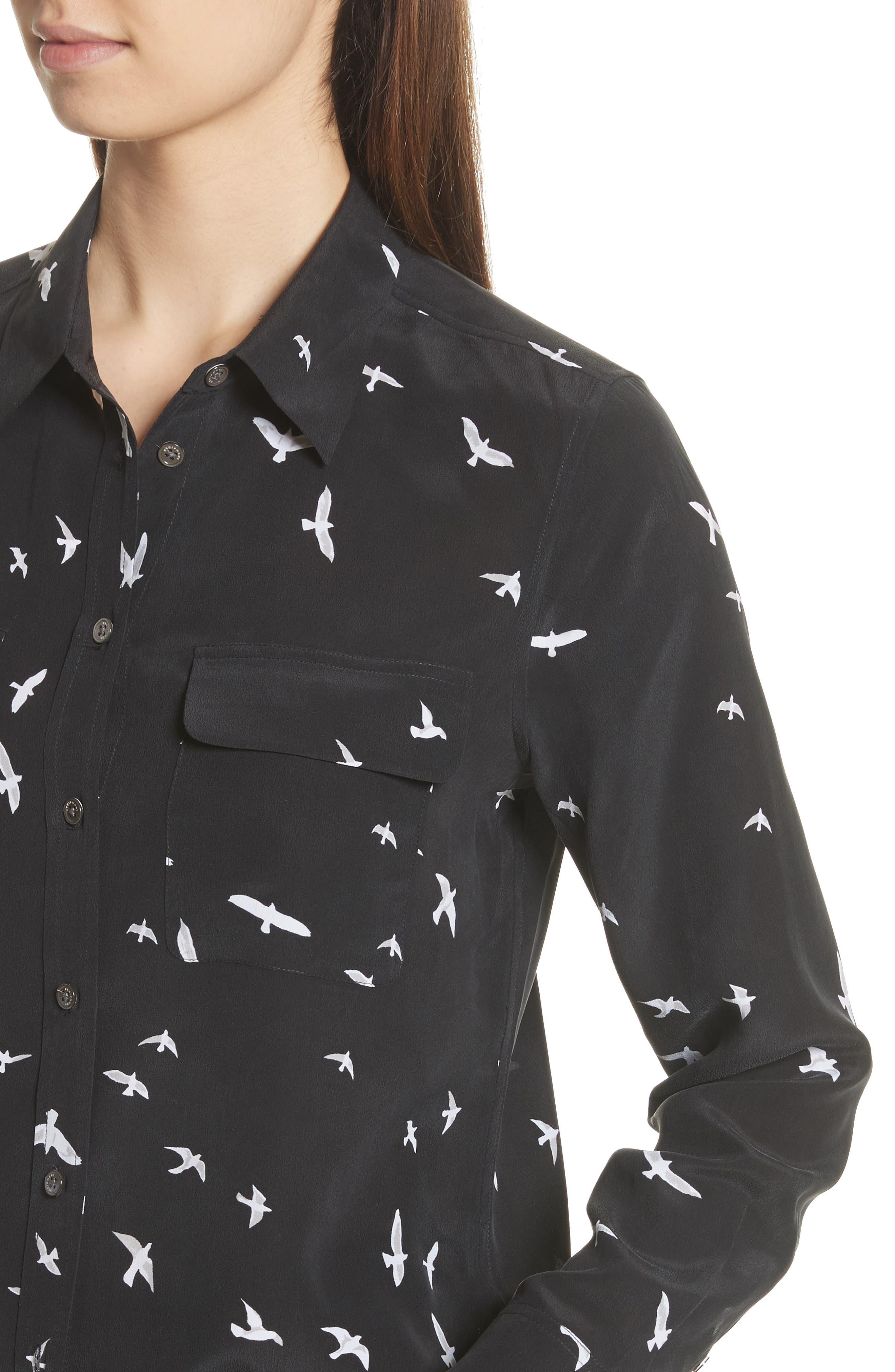 Slim Signature Bird Print Silk Shirt,                             Alternate thumbnail 4, color,