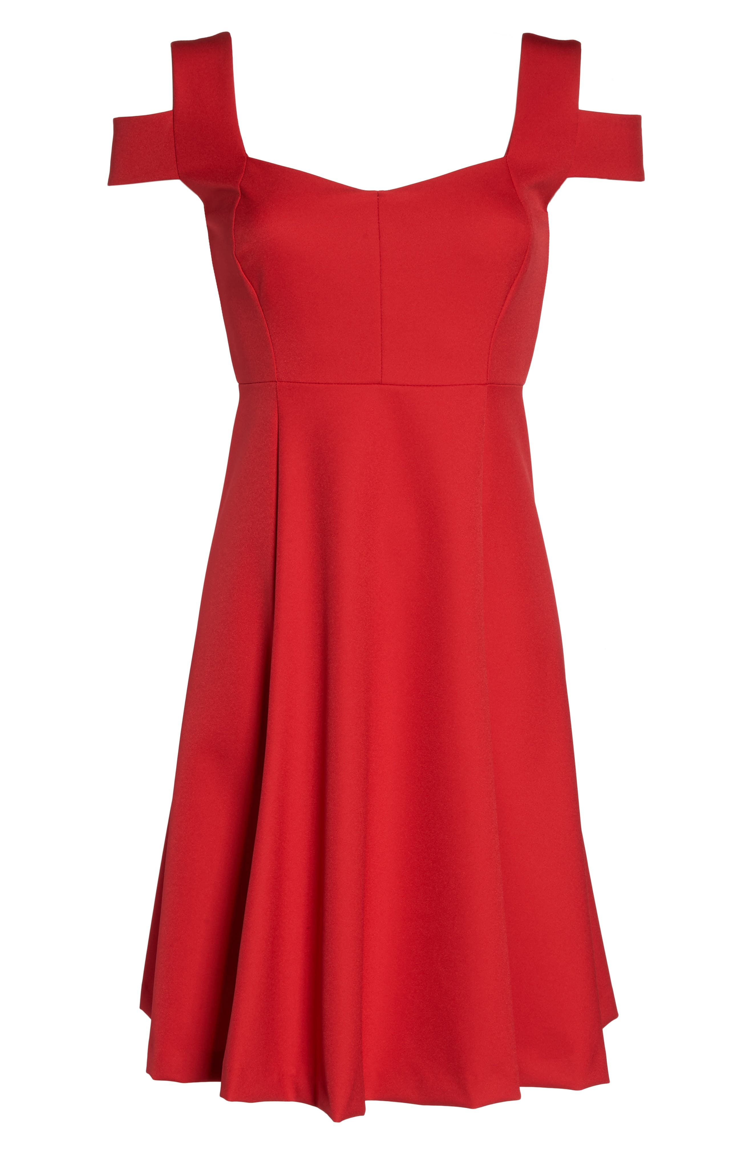 Pearl Cold Shoulder Fit & Flare Dress,                             Alternate thumbnail 6, color,                             600