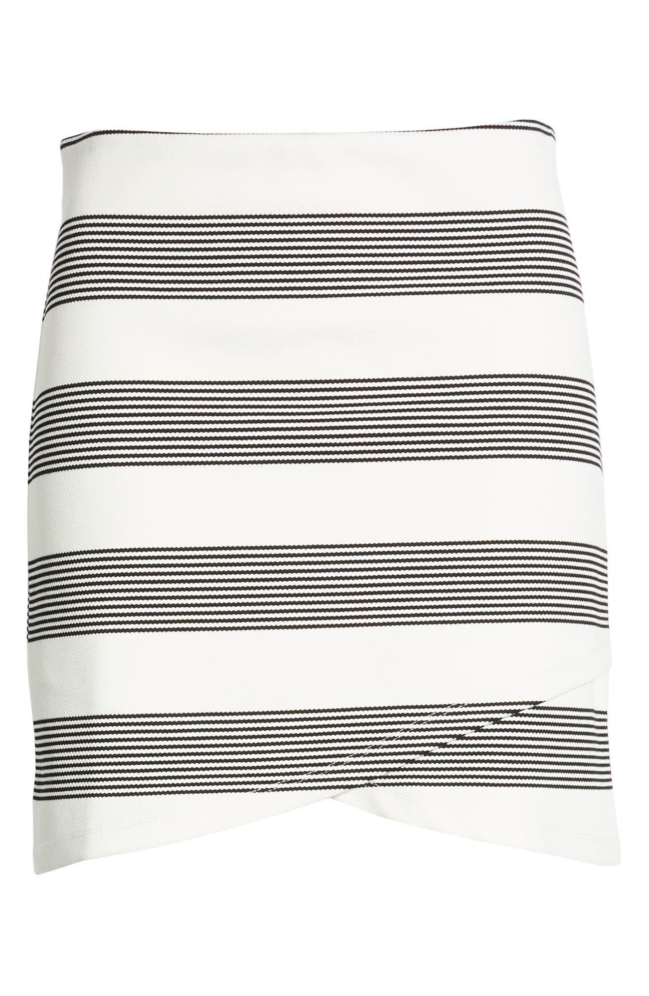 Stripe Miniskirt,                             Alternate thumbnail 6, color,                             BLACK STRIPE