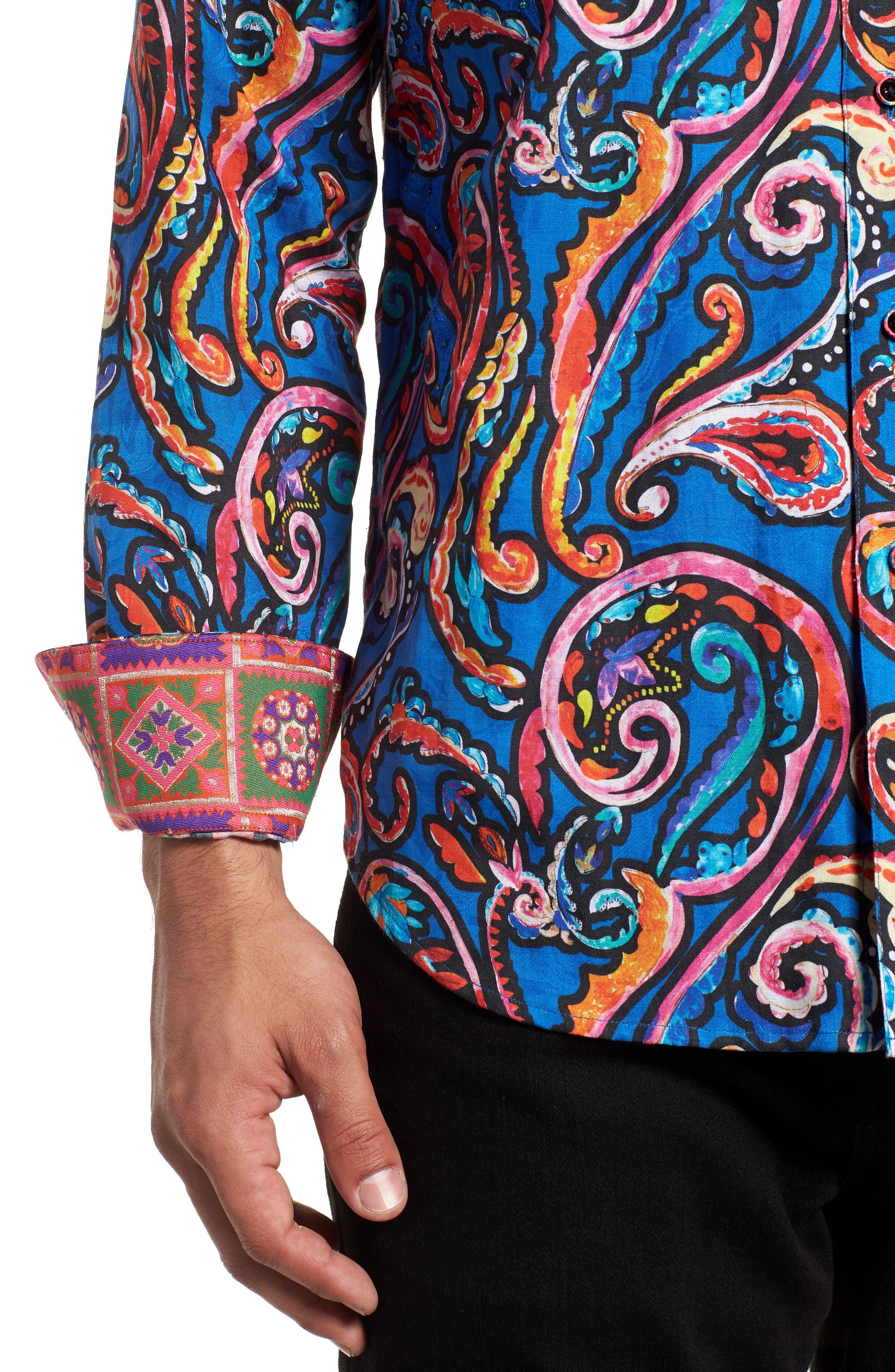 ROBERT GRAHAM,                             The Encourager Limited Edition Linen Blend Sport Shirt,                             Alternate thumbnail 2, color,                             400