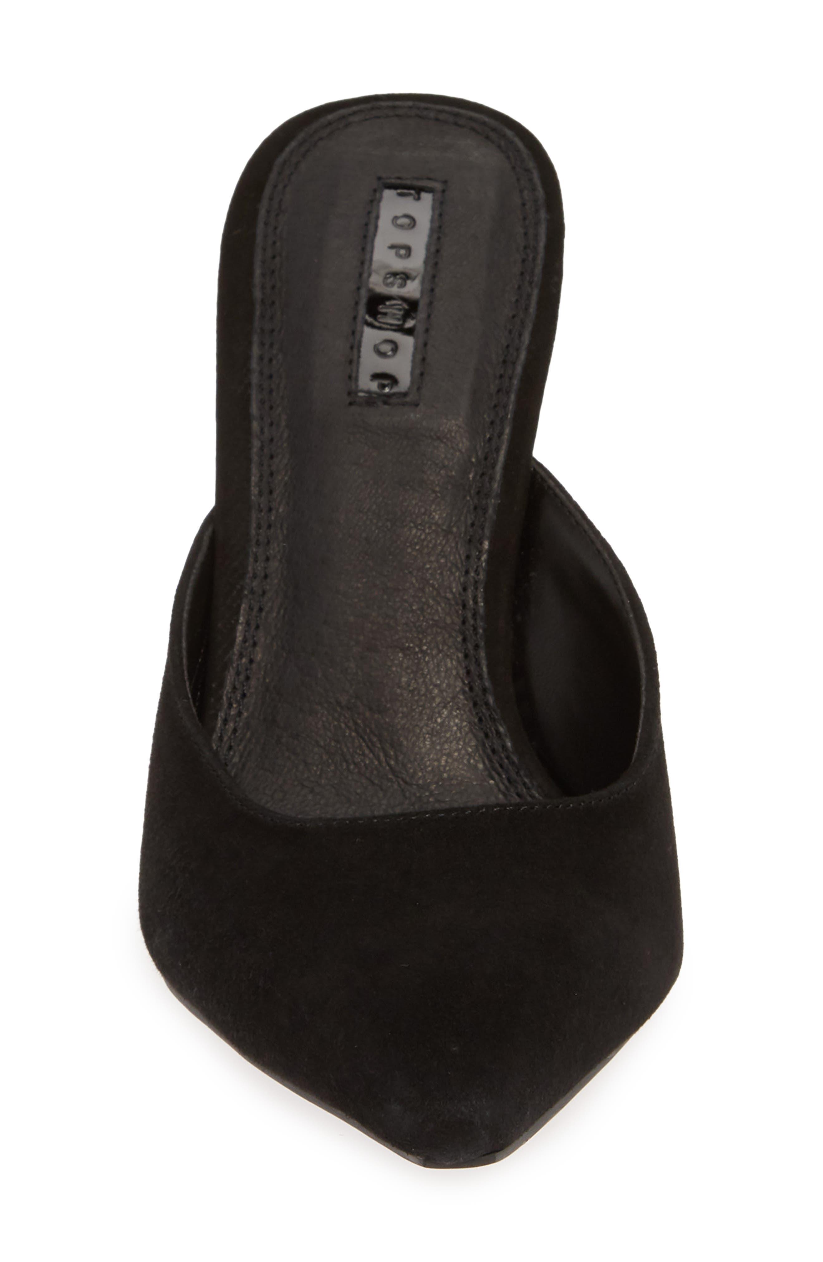 Gloss Almond Toe Mule,                             Alternate thumbnail 4, color,                             BLACK