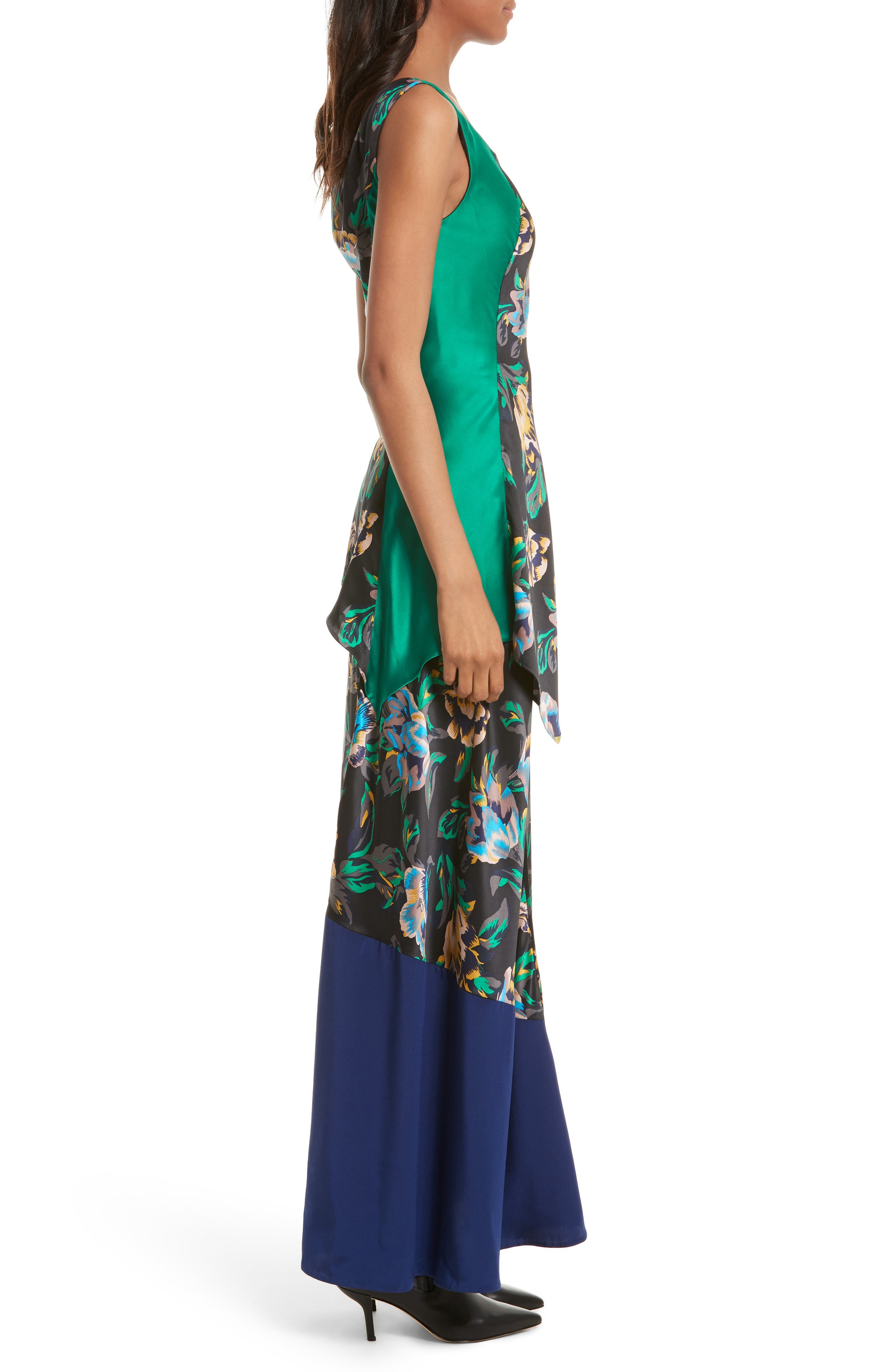 Double Layer Silk Maxi Dress,                             Alternate thumbnail 3, color,                             442