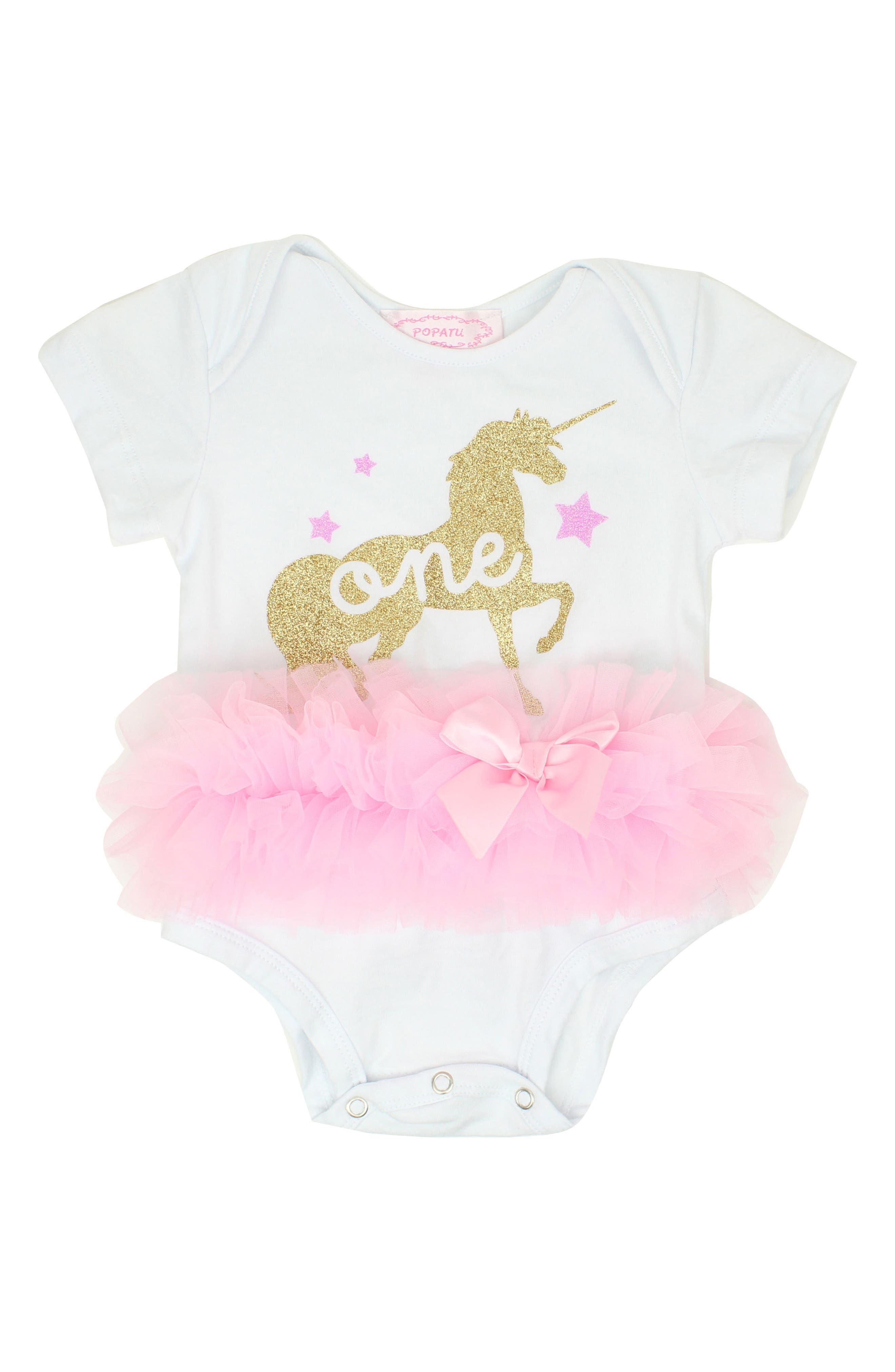 One Unicorn Tutu Bodysuit,                         Main,                         color, WHITE