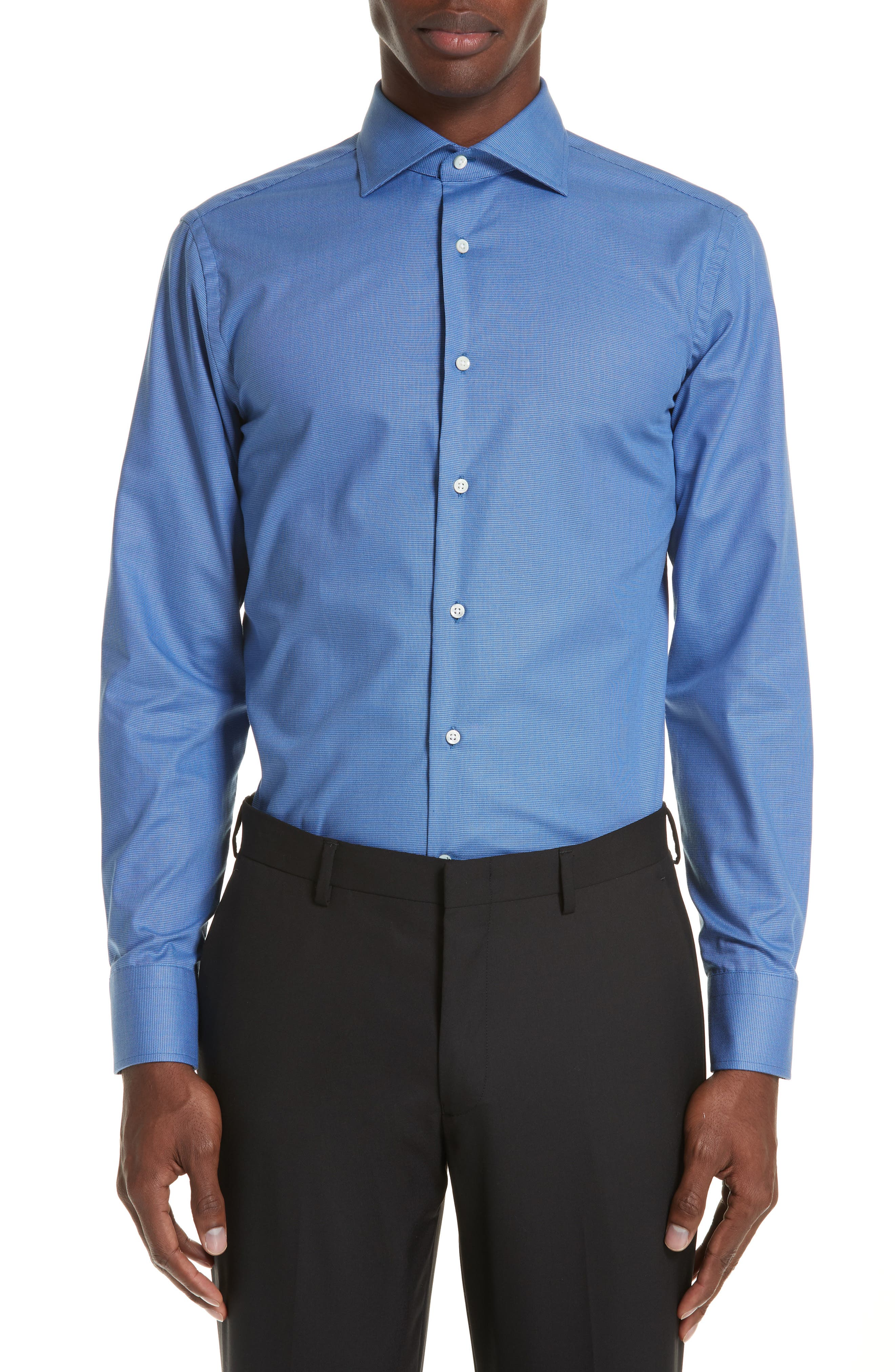 Trim Fit Dress Shirt,                         Main,                         color, DARK BLUE
