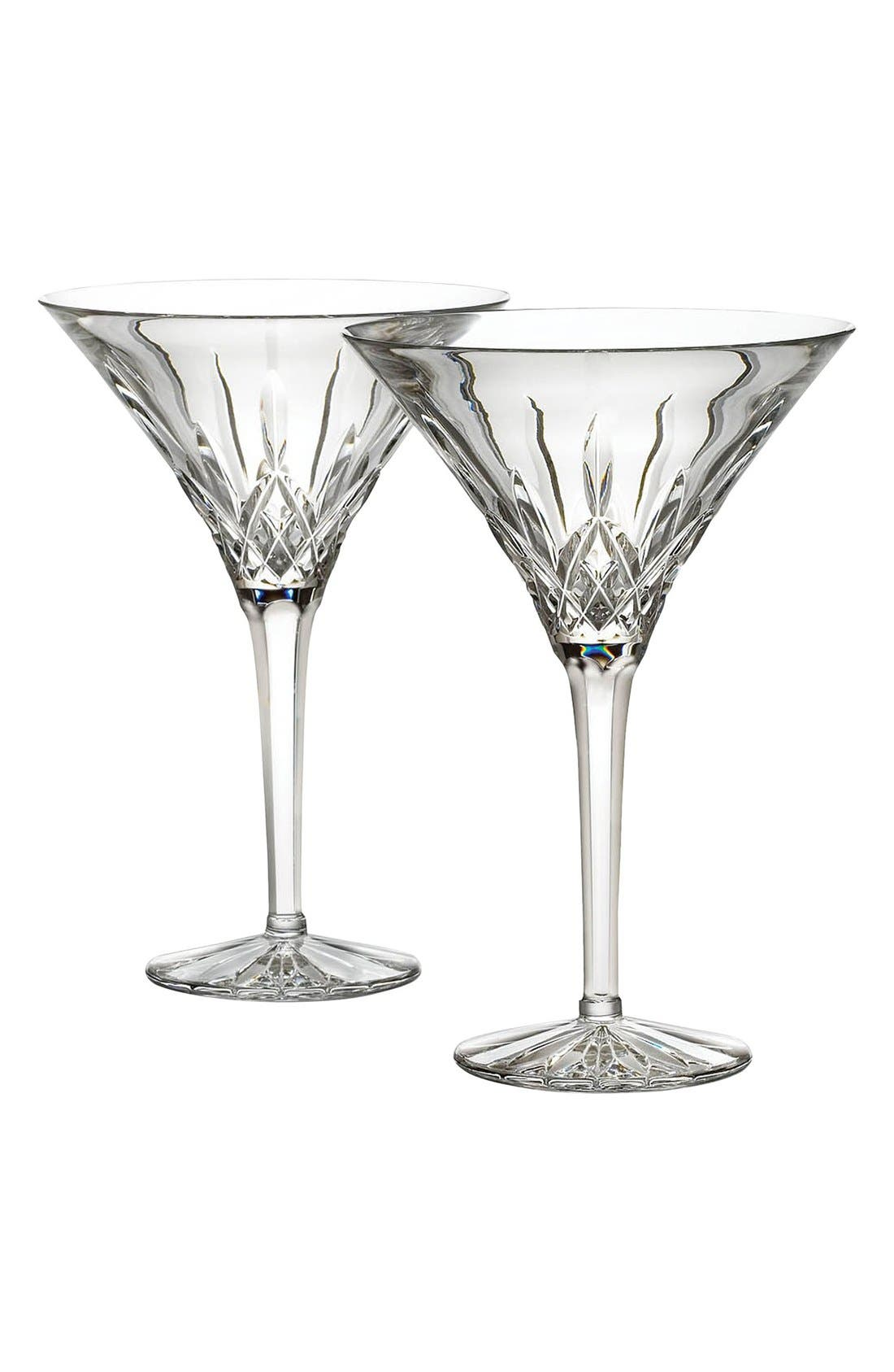 WATERFORD,                             'Lismore' Lead Crystal Martini Glasses,                             Main thumbnail 1, color,                             100