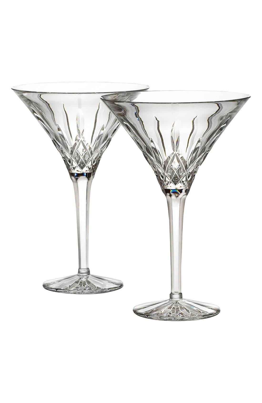 'Lismore' Lead Crystal Martini Glasses,                         Main,                         color, 100