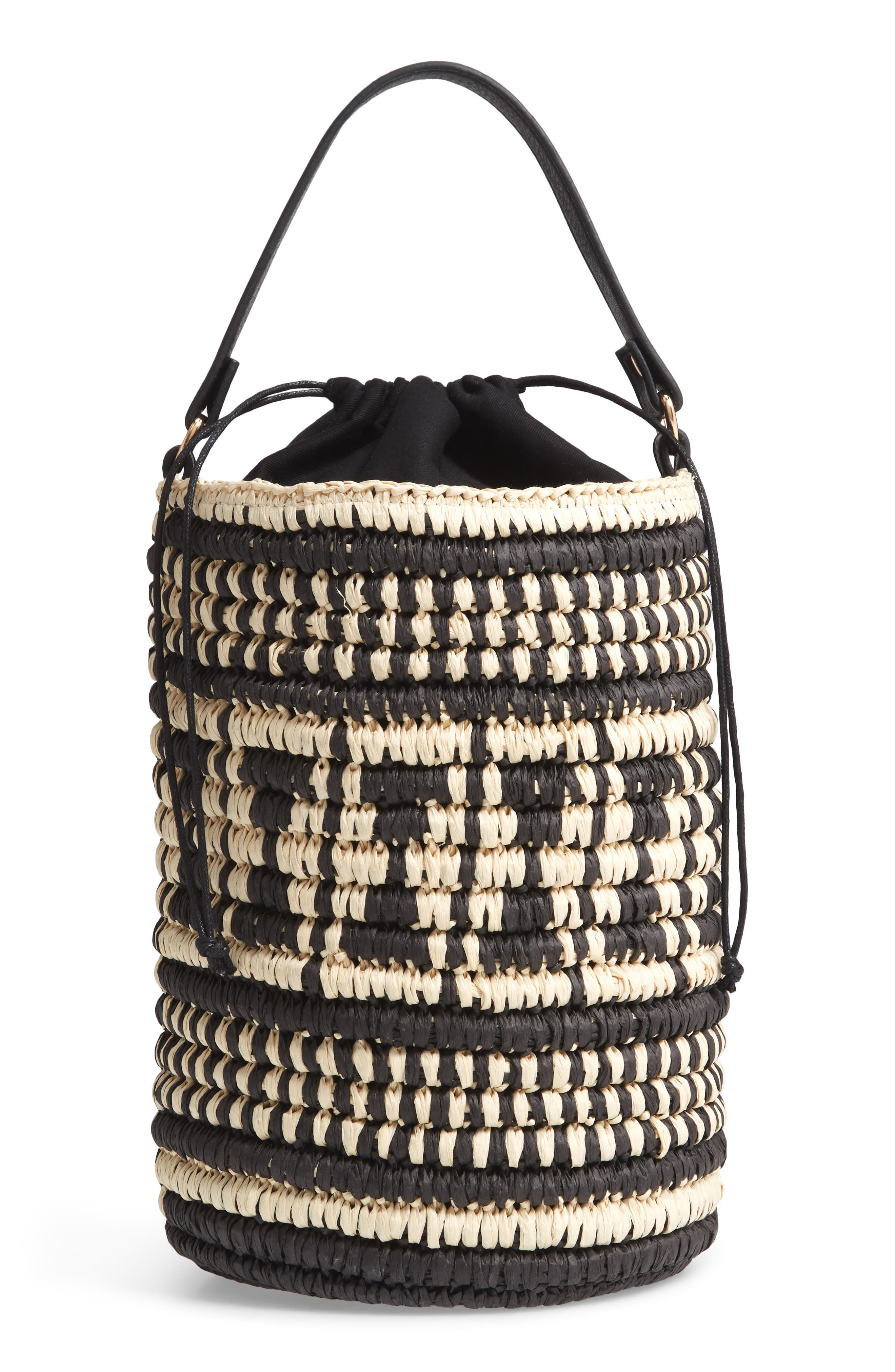 Talula Woven Raffia Bucket Bag,                             Main thumbnail 1, color,                             BLACK