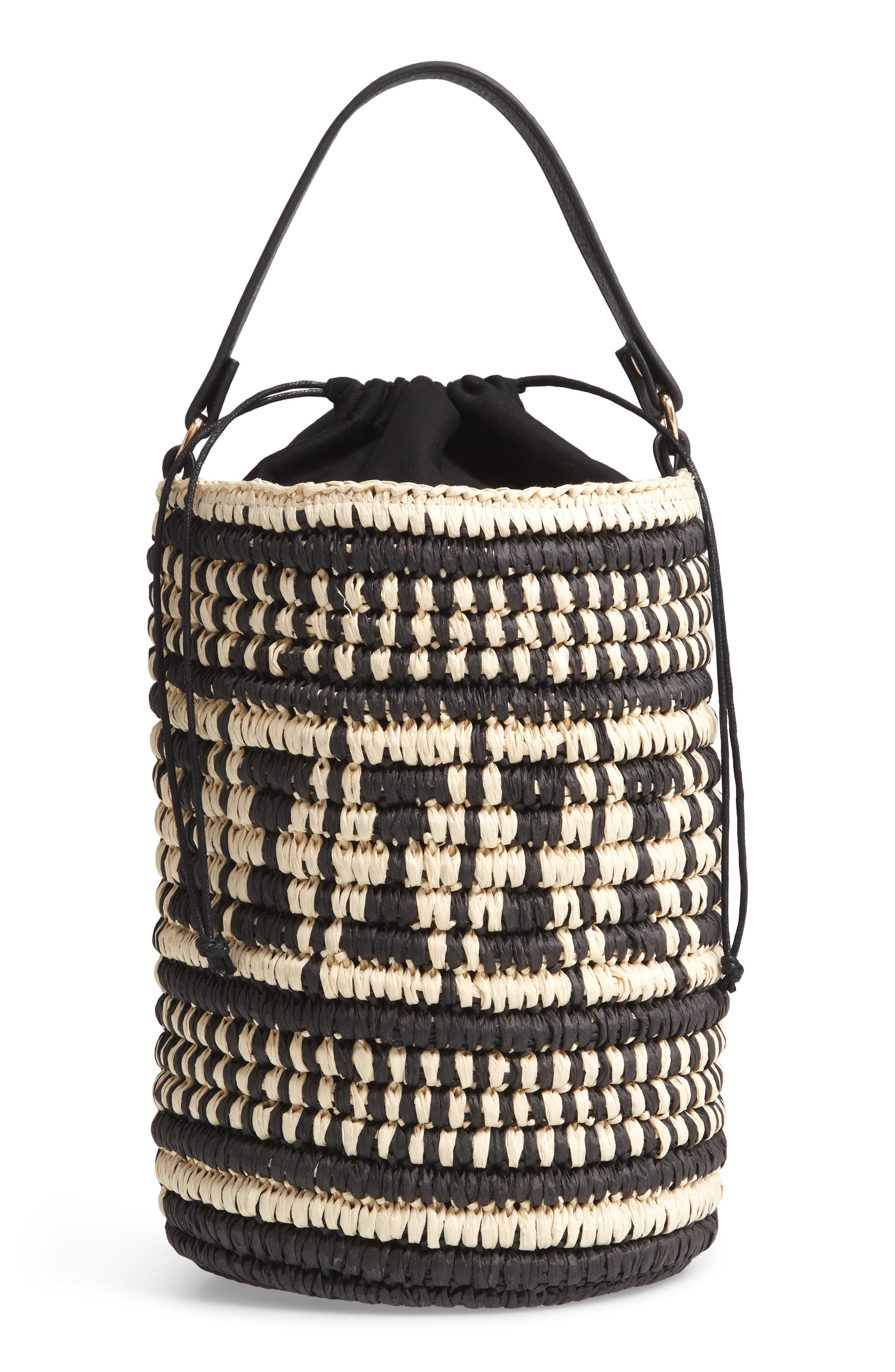 Talula Woven Raffia Bucket Bag,                         Main,                         color, BLACK