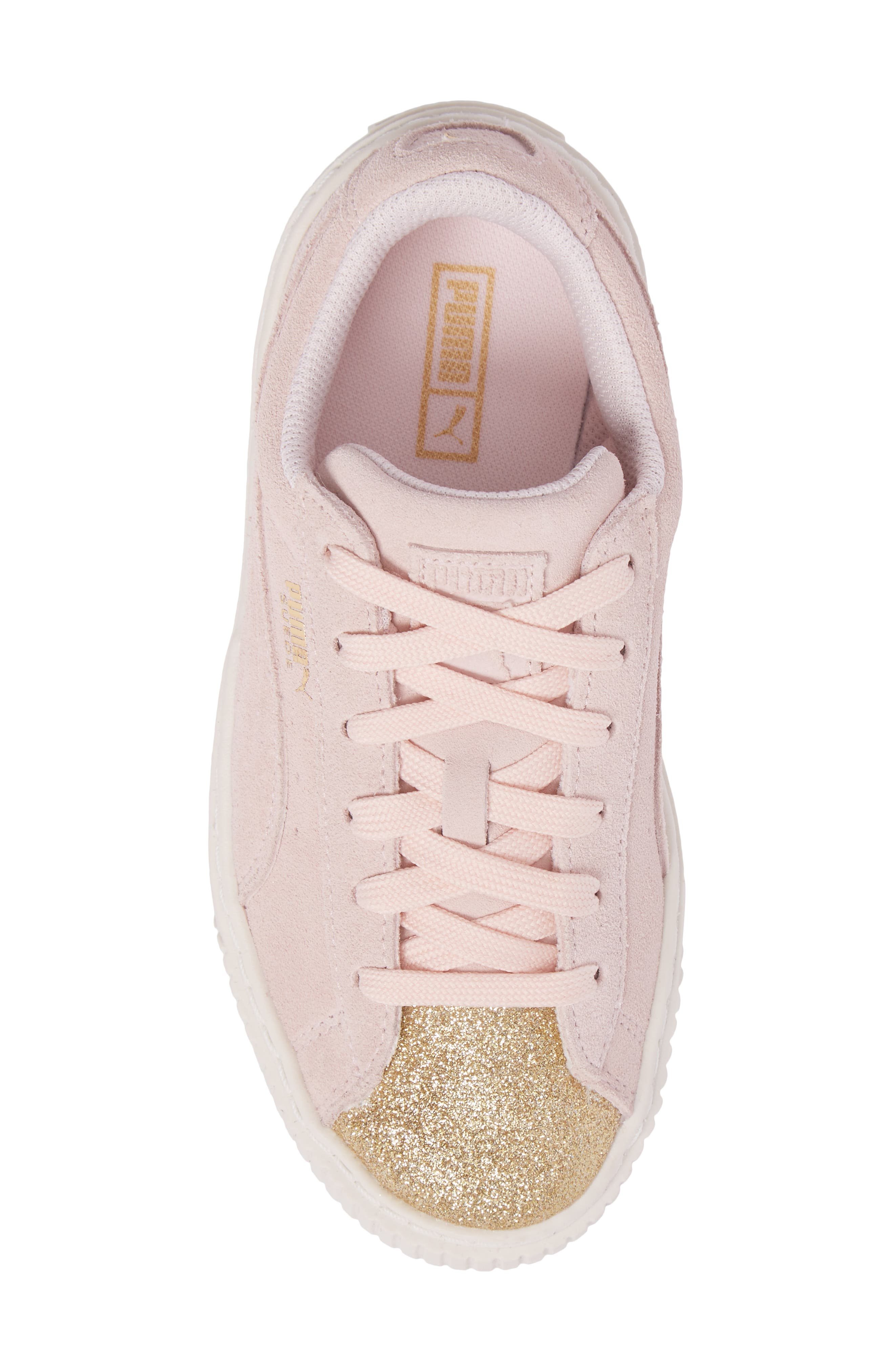Suede Platform Glam Sneaker,                             Alternate thumbnail 5, color,                             650