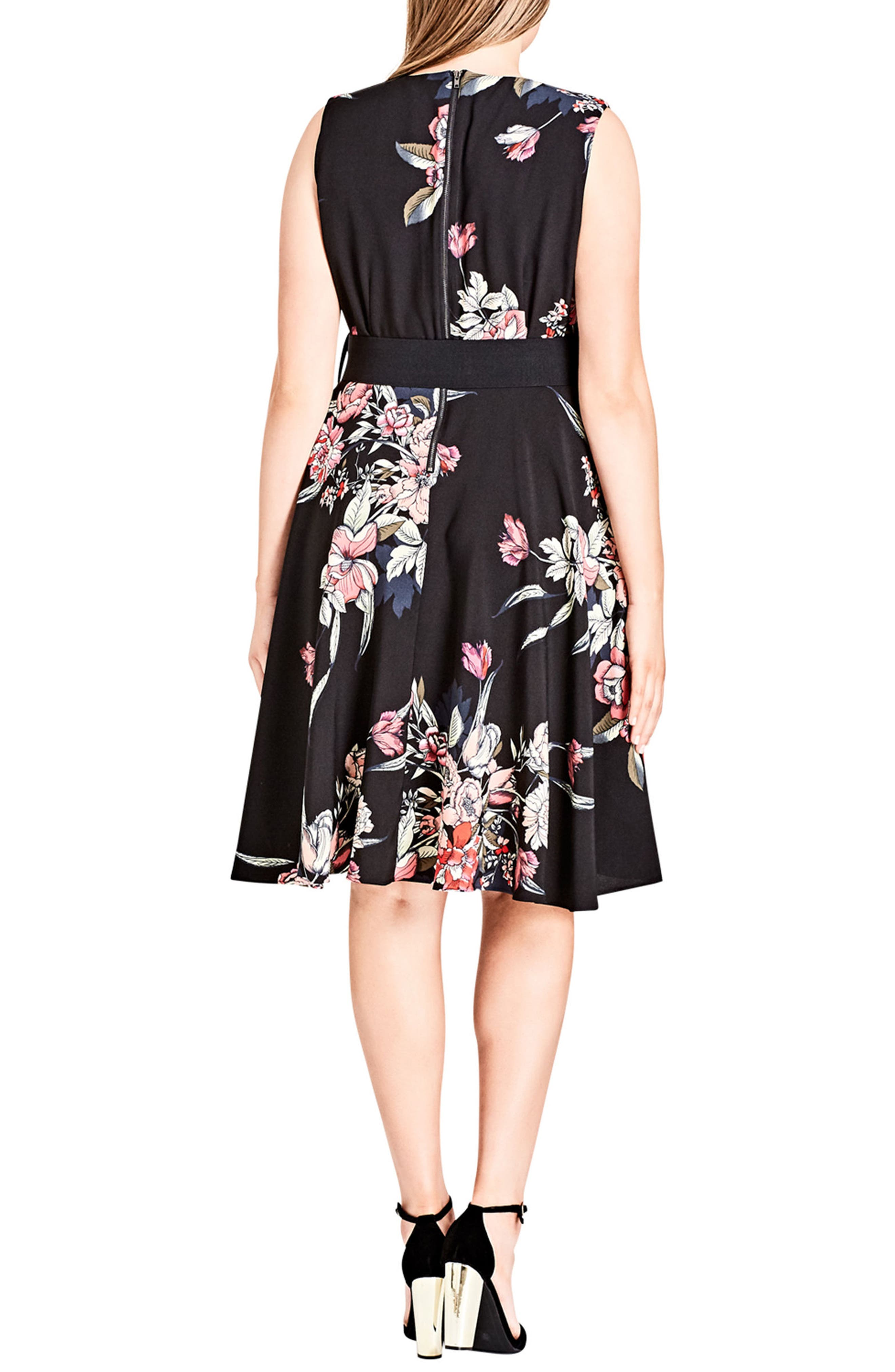 Misty Floral Fit & Flare Dress,                             Alternate thumbnail 2, color,                             MISTY FLORAL