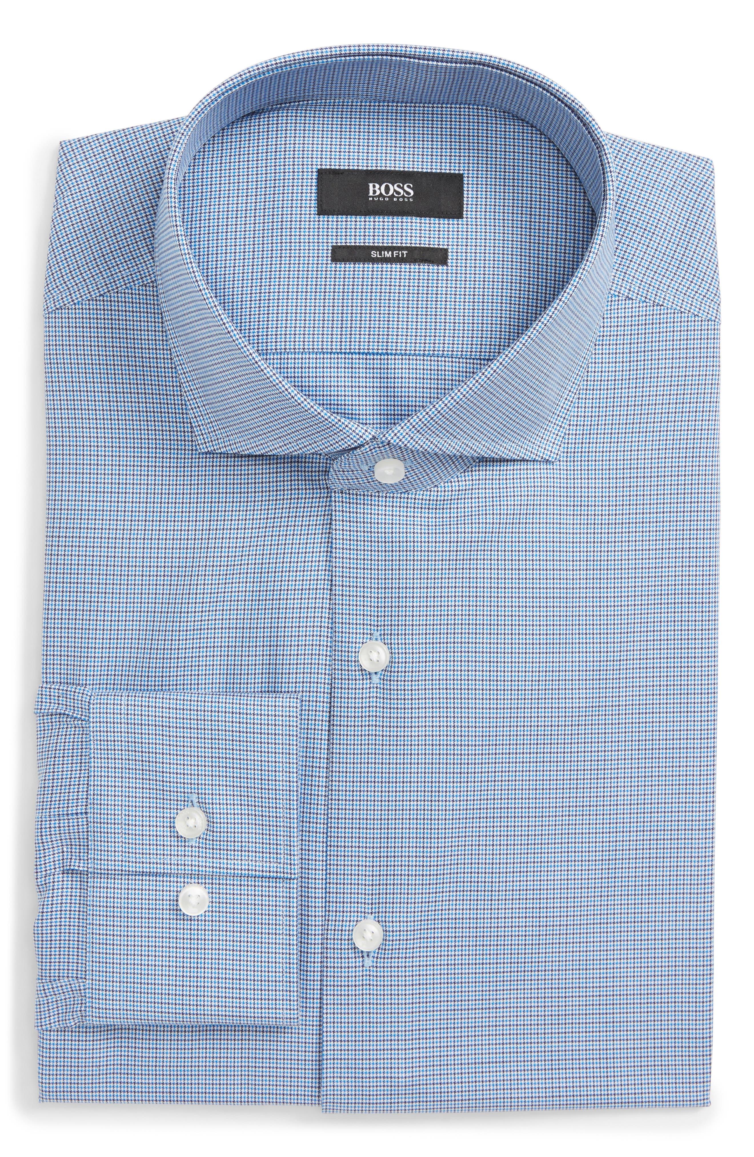 Jason Slim Fit Houndstooth Dress Shirt,                         Main,                         color, BLUE
