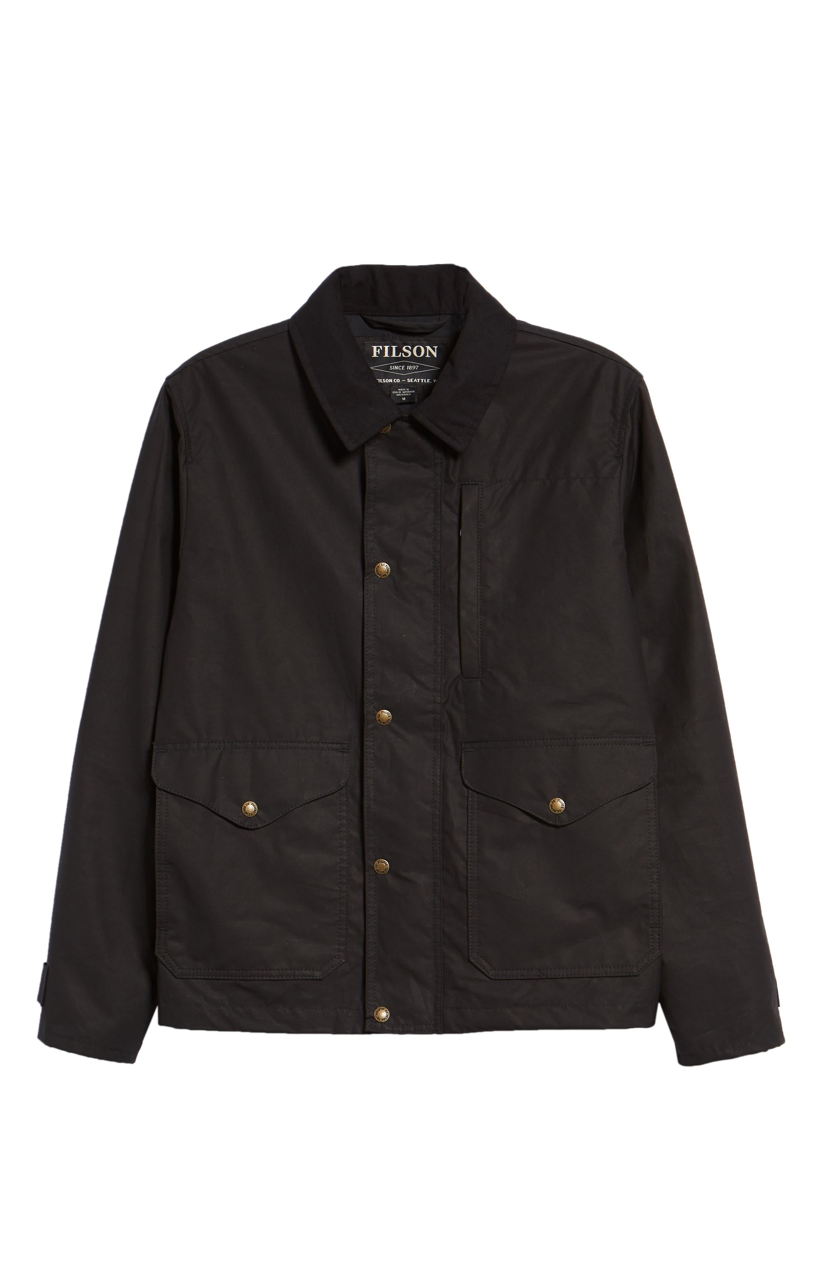 Short Mile Marker Waxed Cotton Jacket,                             Alternate thumbnail 6, color,                             BLACK