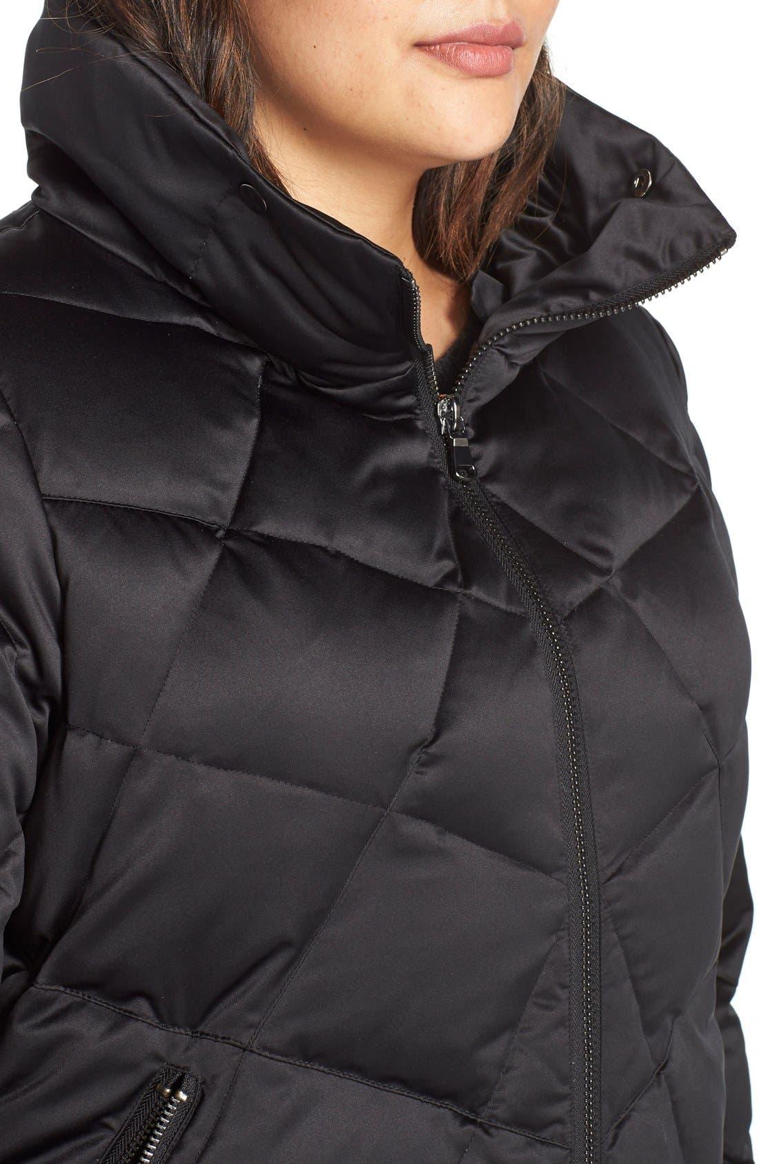 KRISTEN BLAKE,                             Hooded Diamond Quilted A-Line Down Coat,                             Alternate thumbnail 5, color,                             BLACK