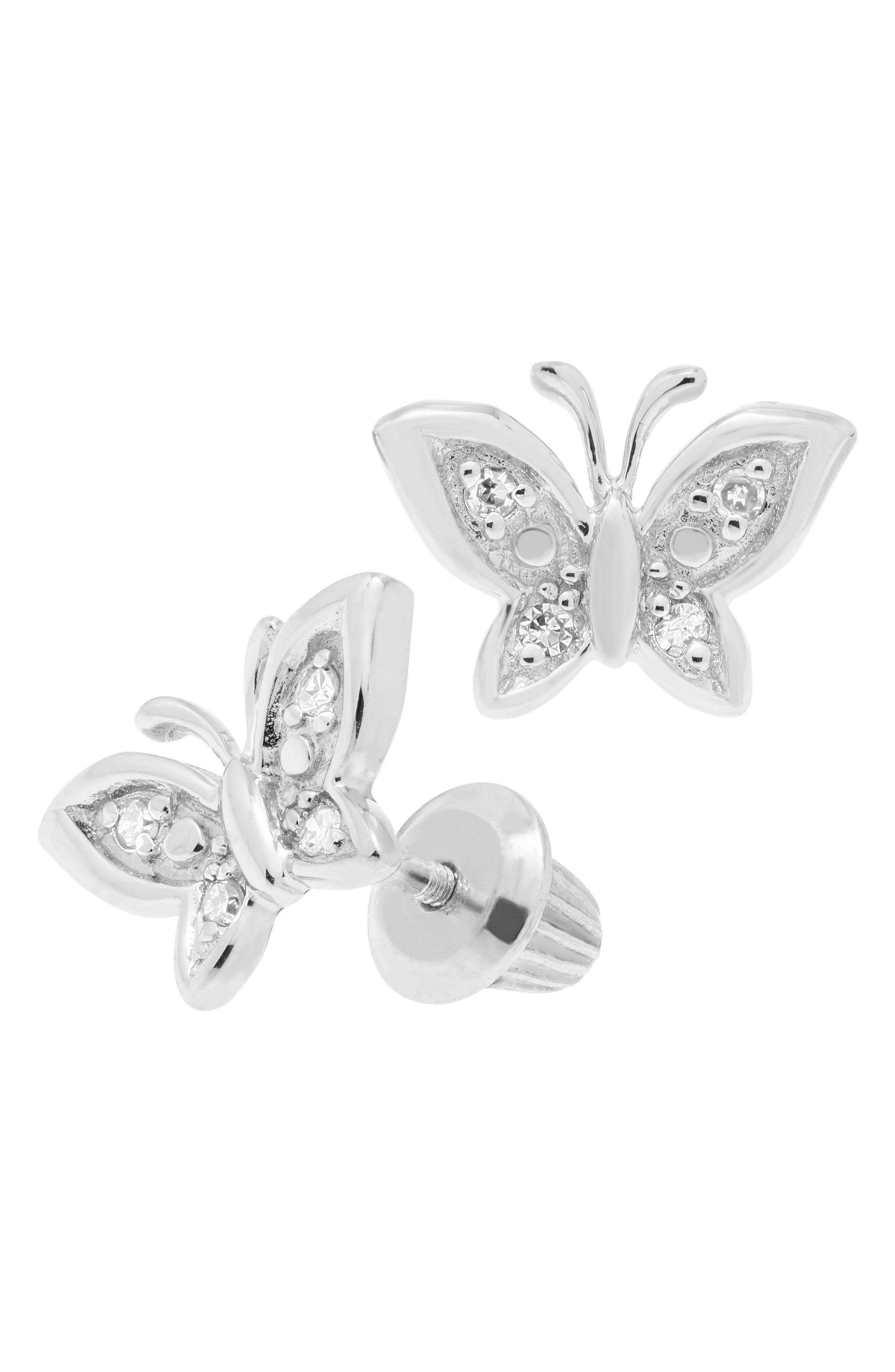 Sterling Silver & Diamond Butterfly Stud Earrings,                             Main thumbnail 1, color,                             SILVER