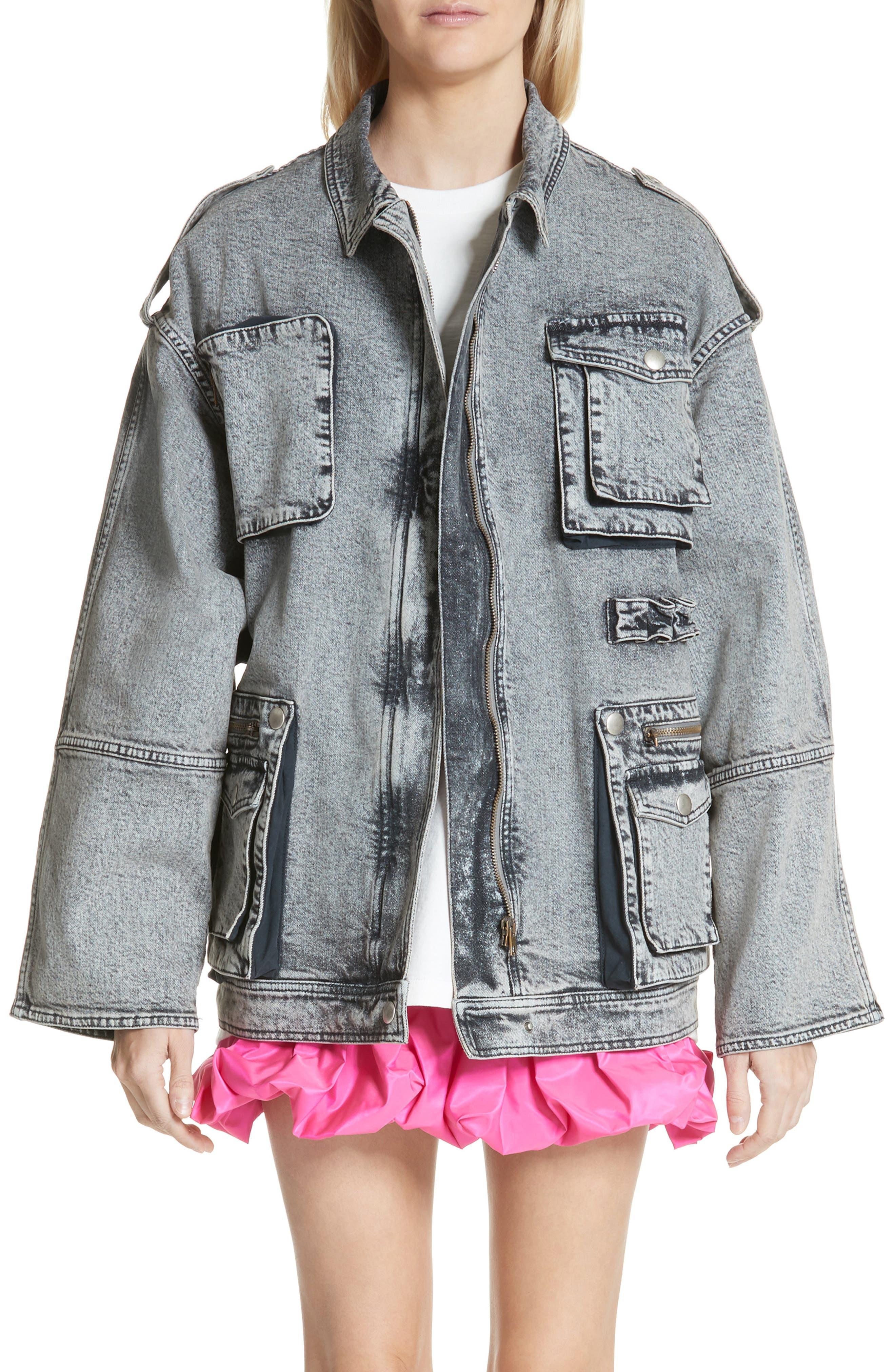 Acid Wash Oversize Denim Jacket,                             Main thumbnail 1, color,                             023
