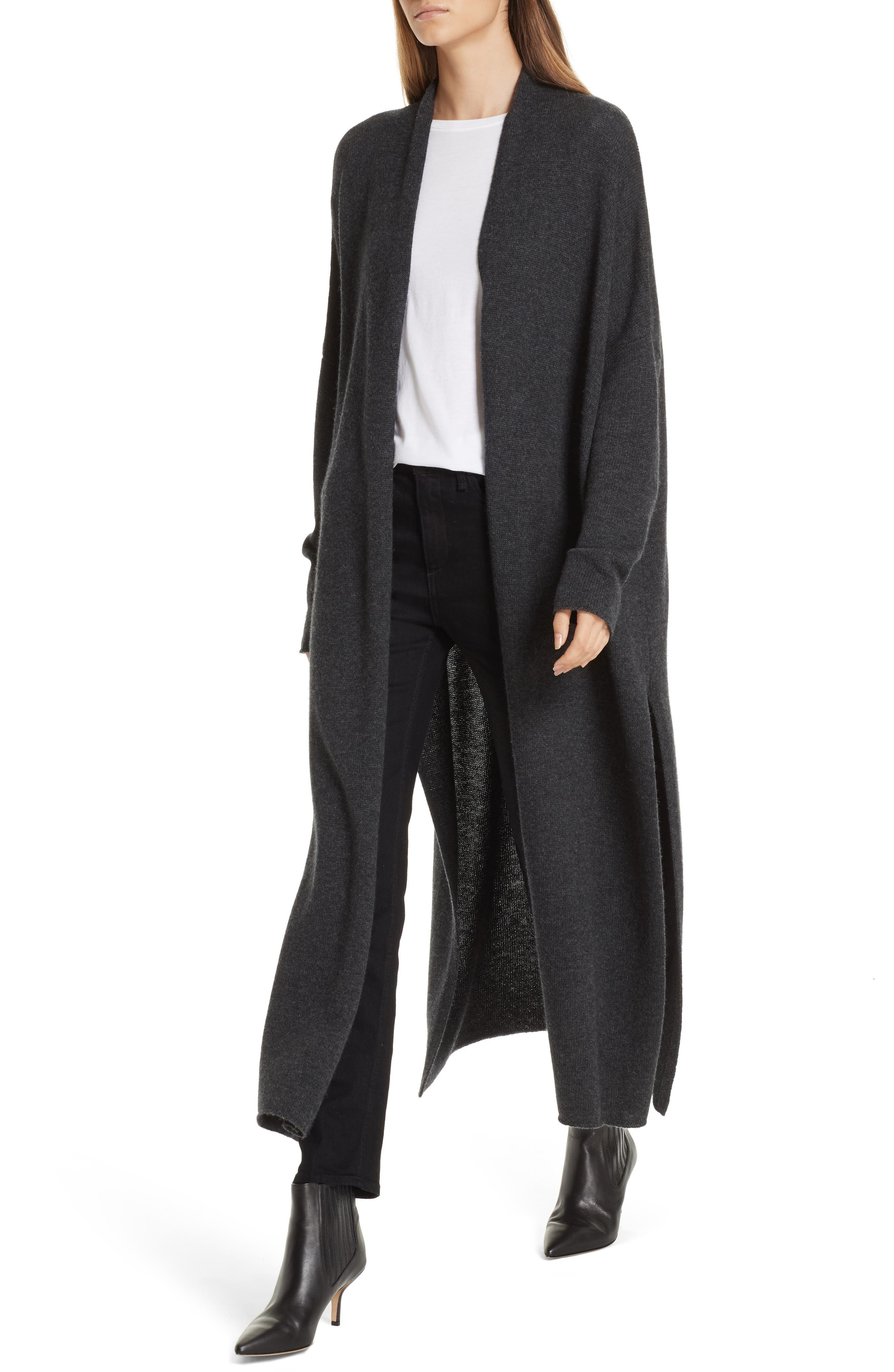 Orial Wool Cashmere Duster,                             Alternate thumbnail 4, color,                             CHARCOAL